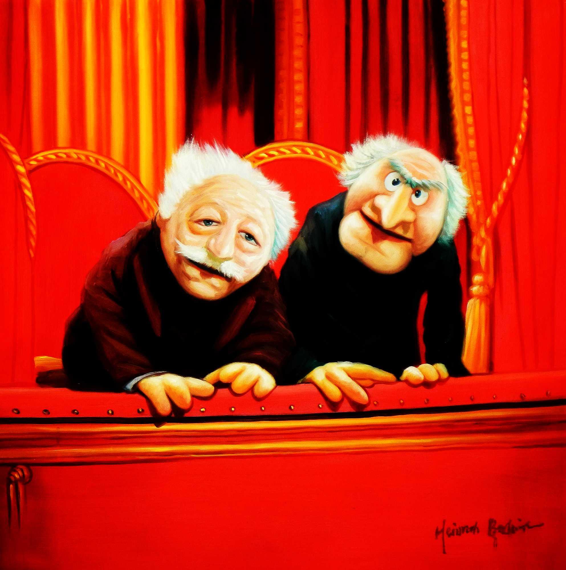 Muppet Opas Waldorf & Statler Pop Art e95212 60x60cm großartiges Ölbild