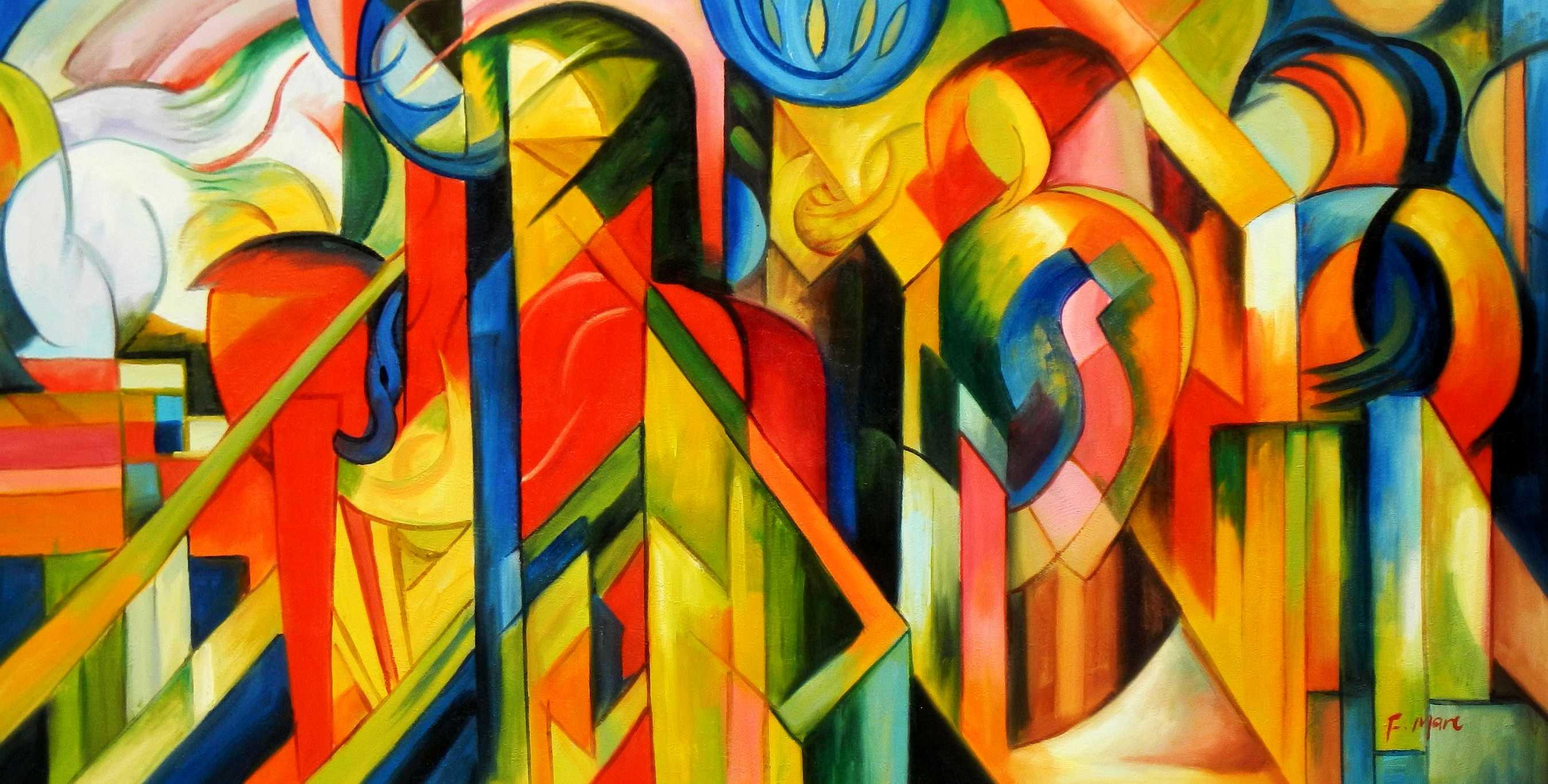 Franz Marc - Stallungen f95220 60x120cm Expressionismus Ölgemälde handgemalt