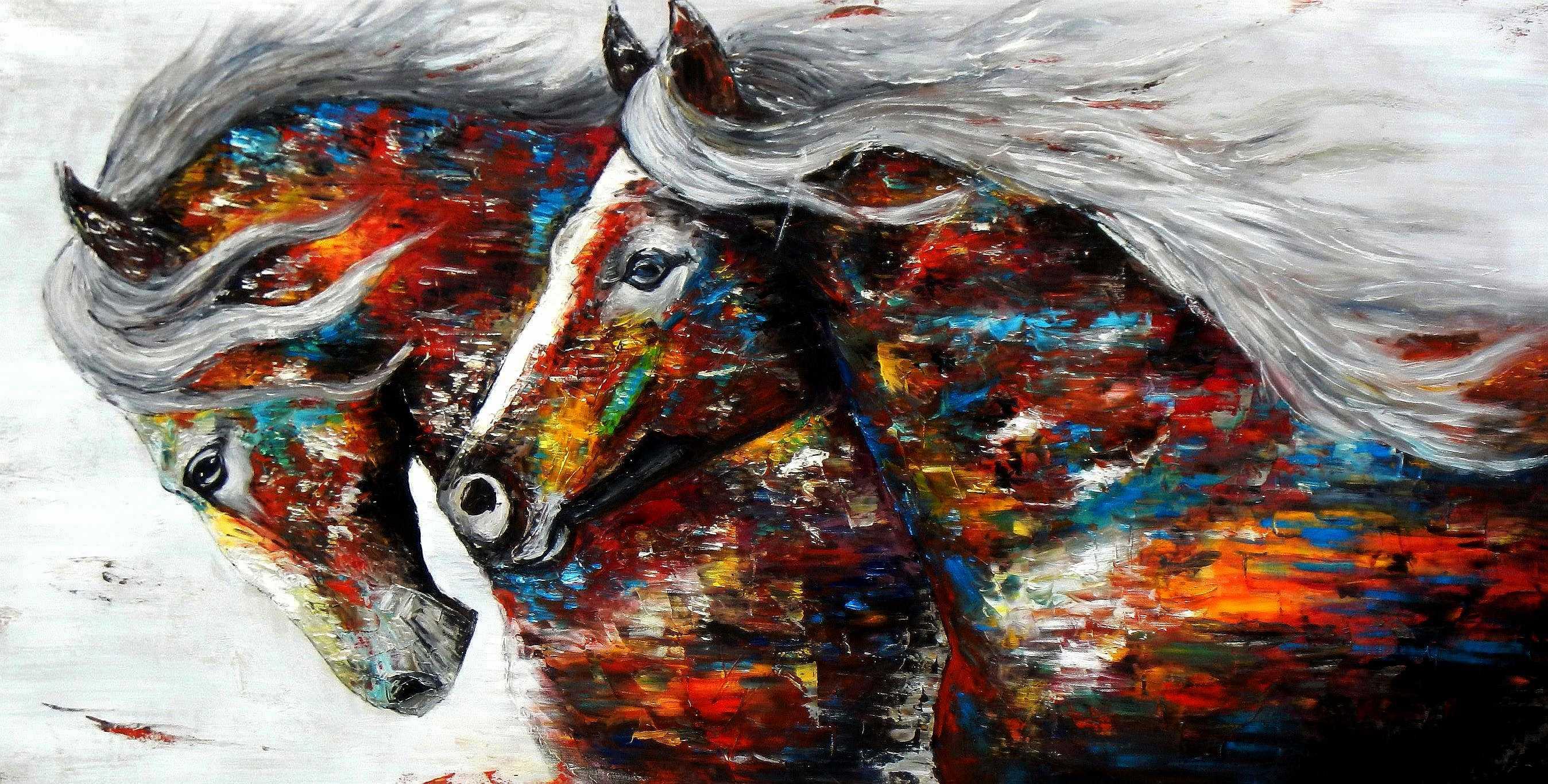 Modern Art - Wilde Freiheit f95225 G 60x120cm beeindruckendes Ölbild