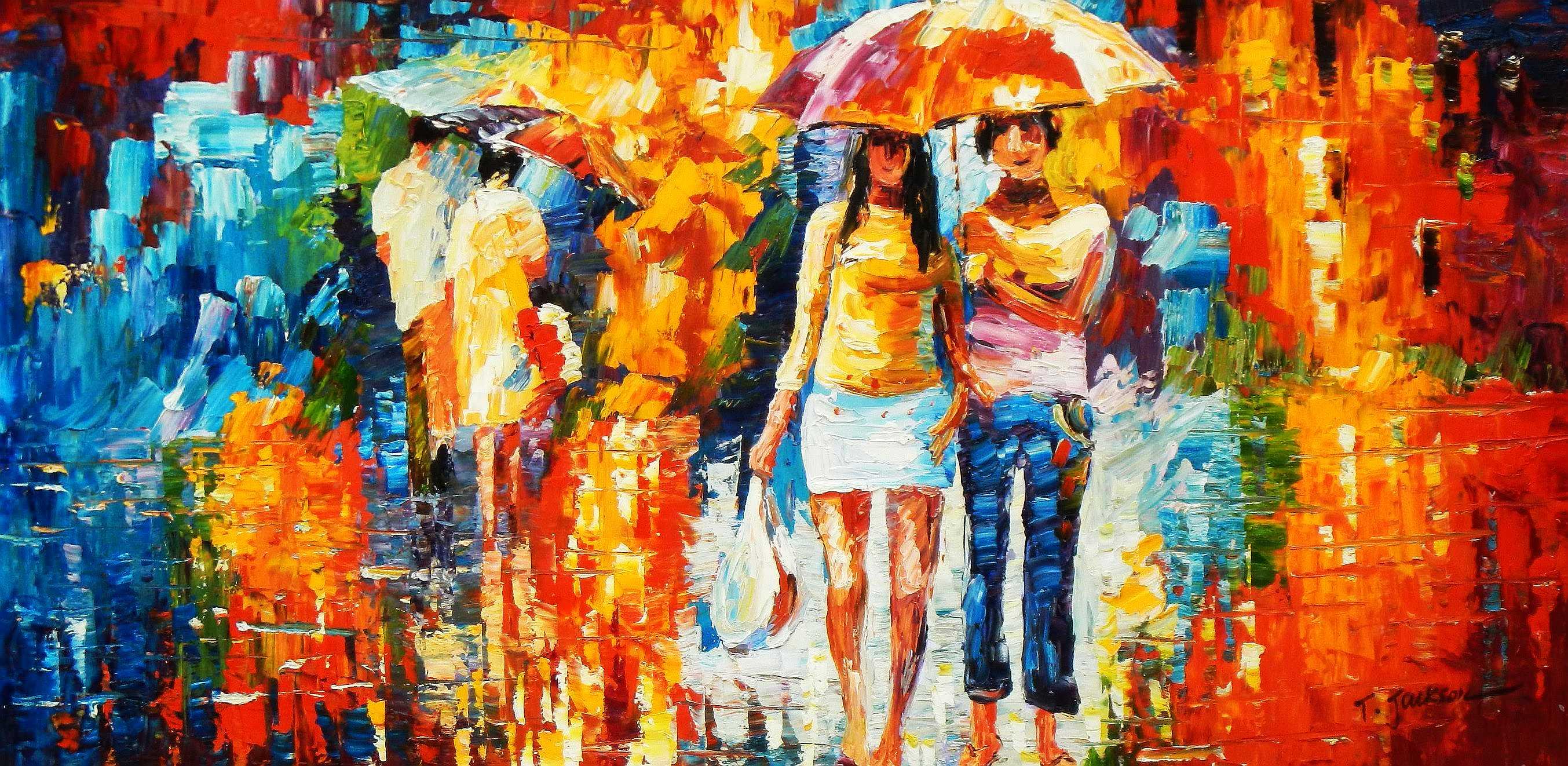 Modern Art - Umbrella walk f95232 60x120cm modernes Ölgemälde