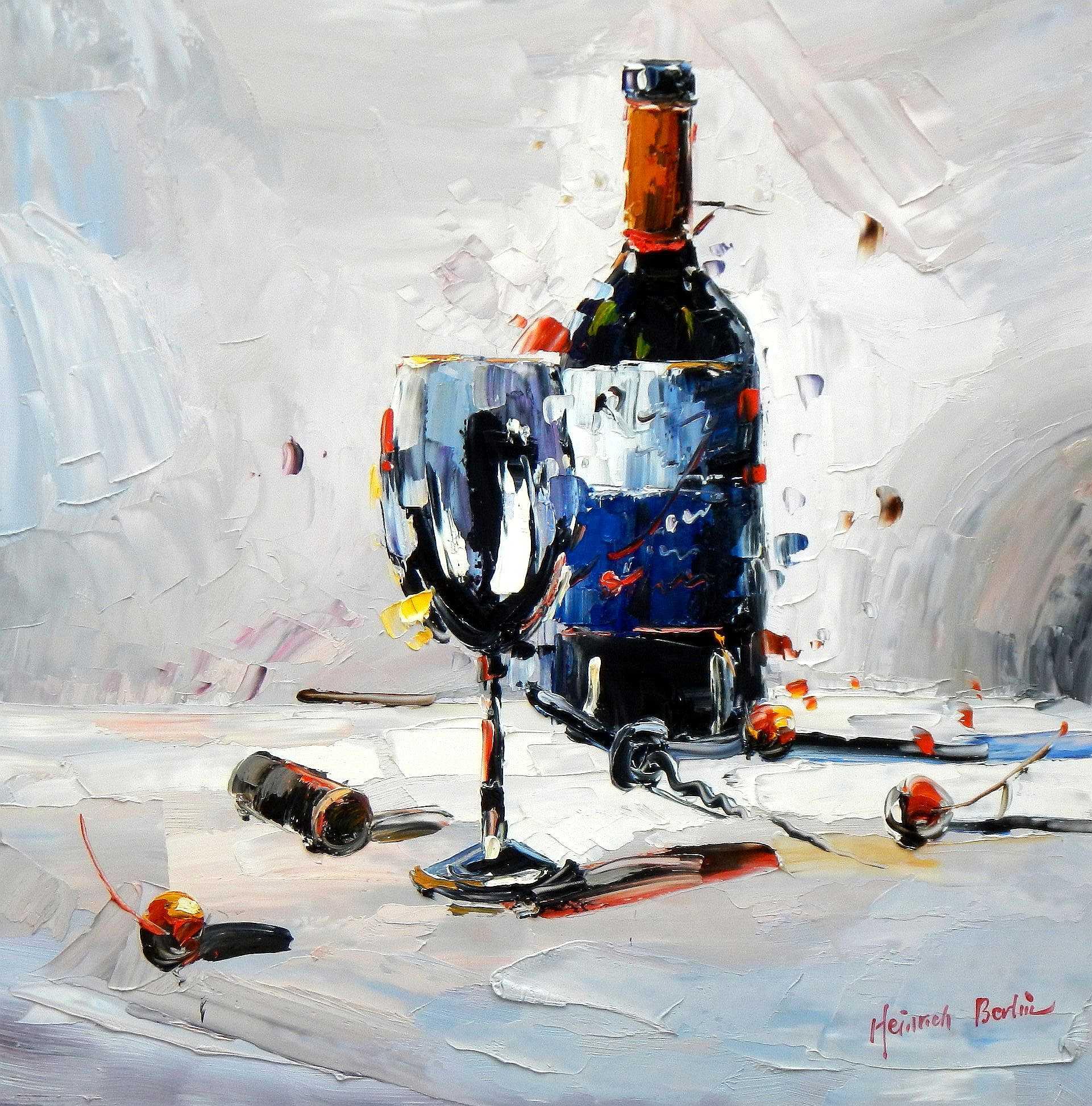 Abstrakt - Stillleben mit Weinflasche g95236 80x80cm exzellentes Ölbild