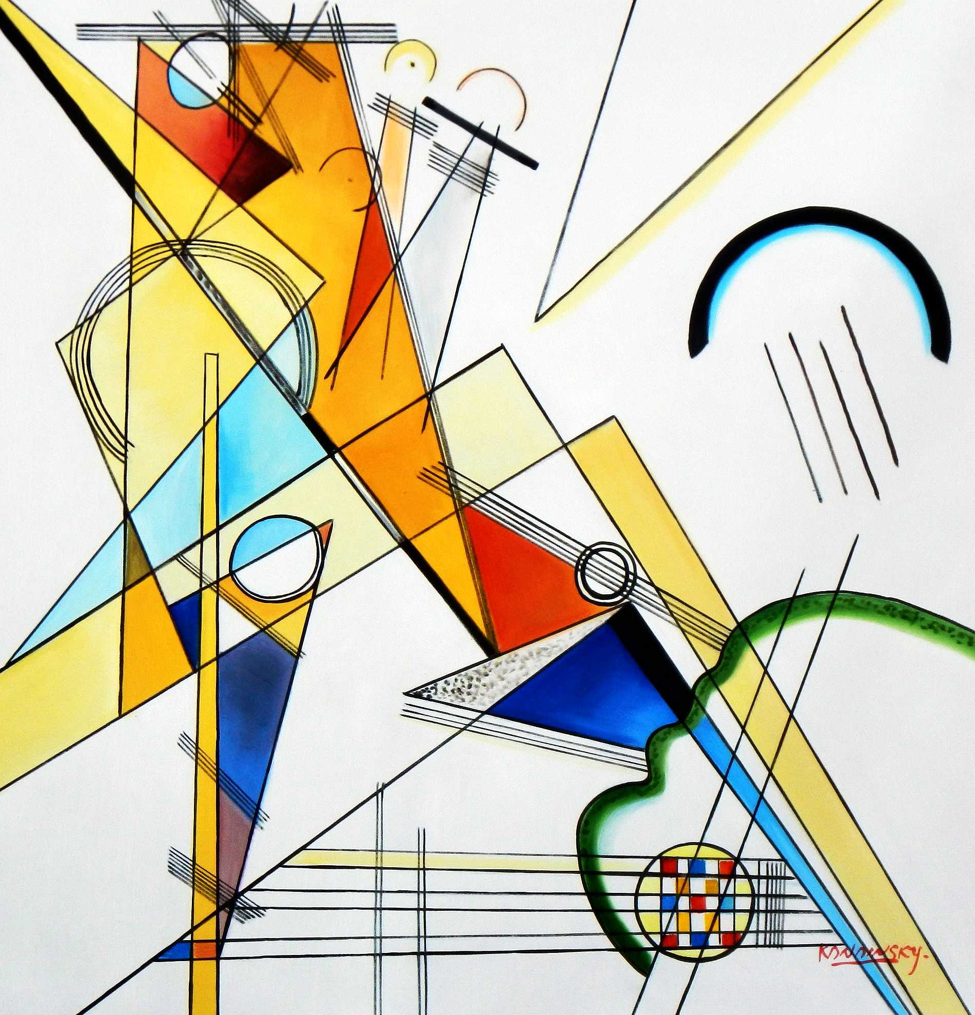 Wassily Kandinsky - Gewebe g95241 80x80cm beeindruckendes Ölbild