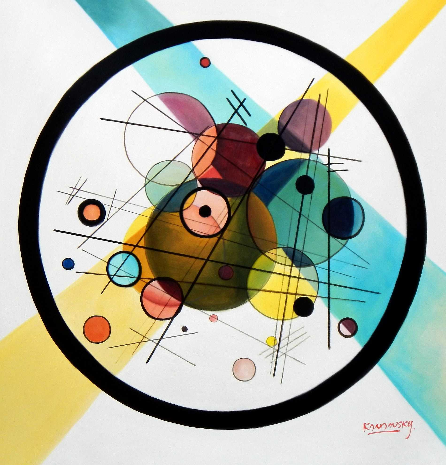 Homage to Kandinsky - Variation der Querlinie g95242 80x80cm Ölbild