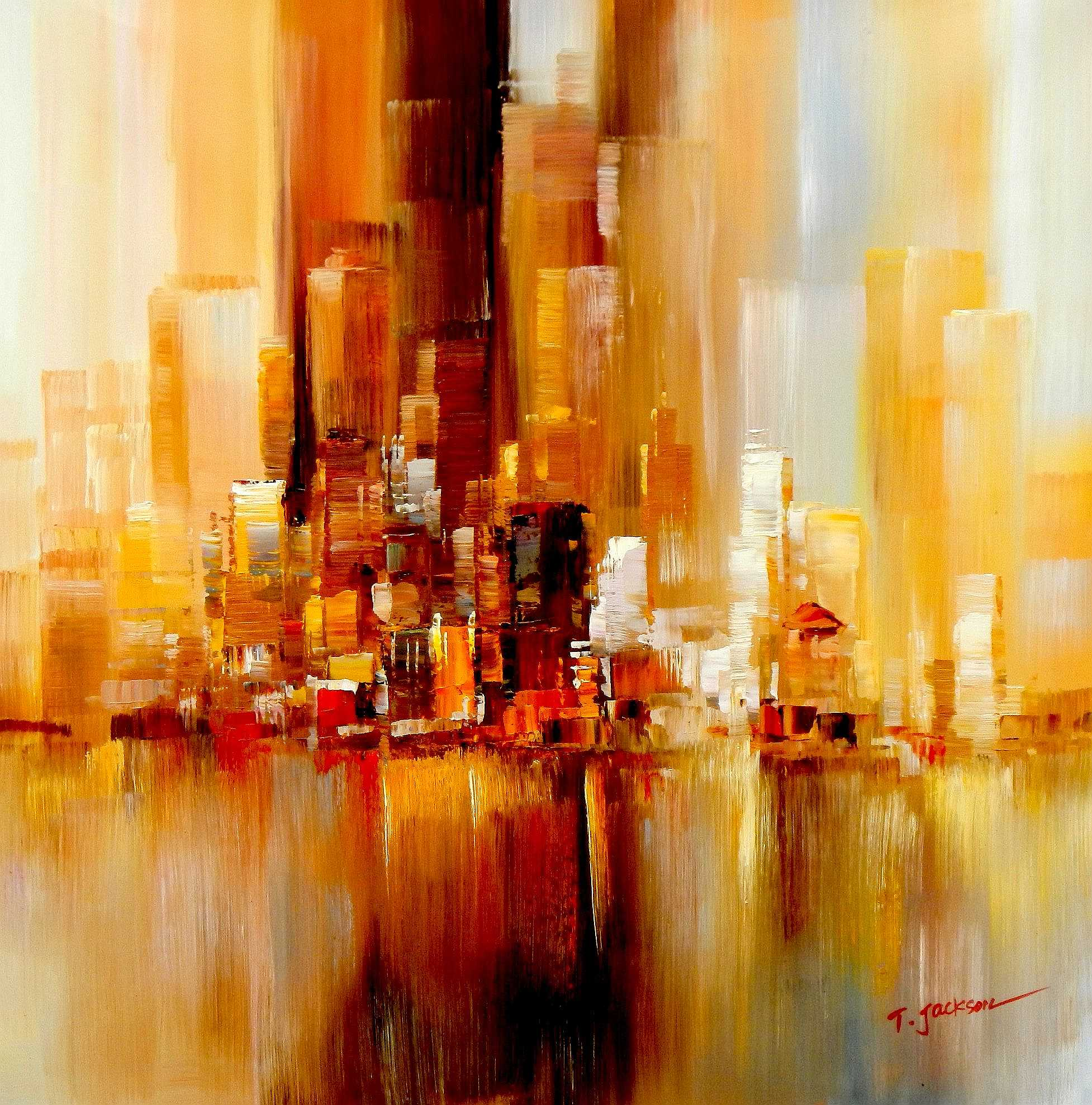 Abstrakt New York Manhattan Skyline im Herbst g95243 80x80cm abstraktes Ölbild