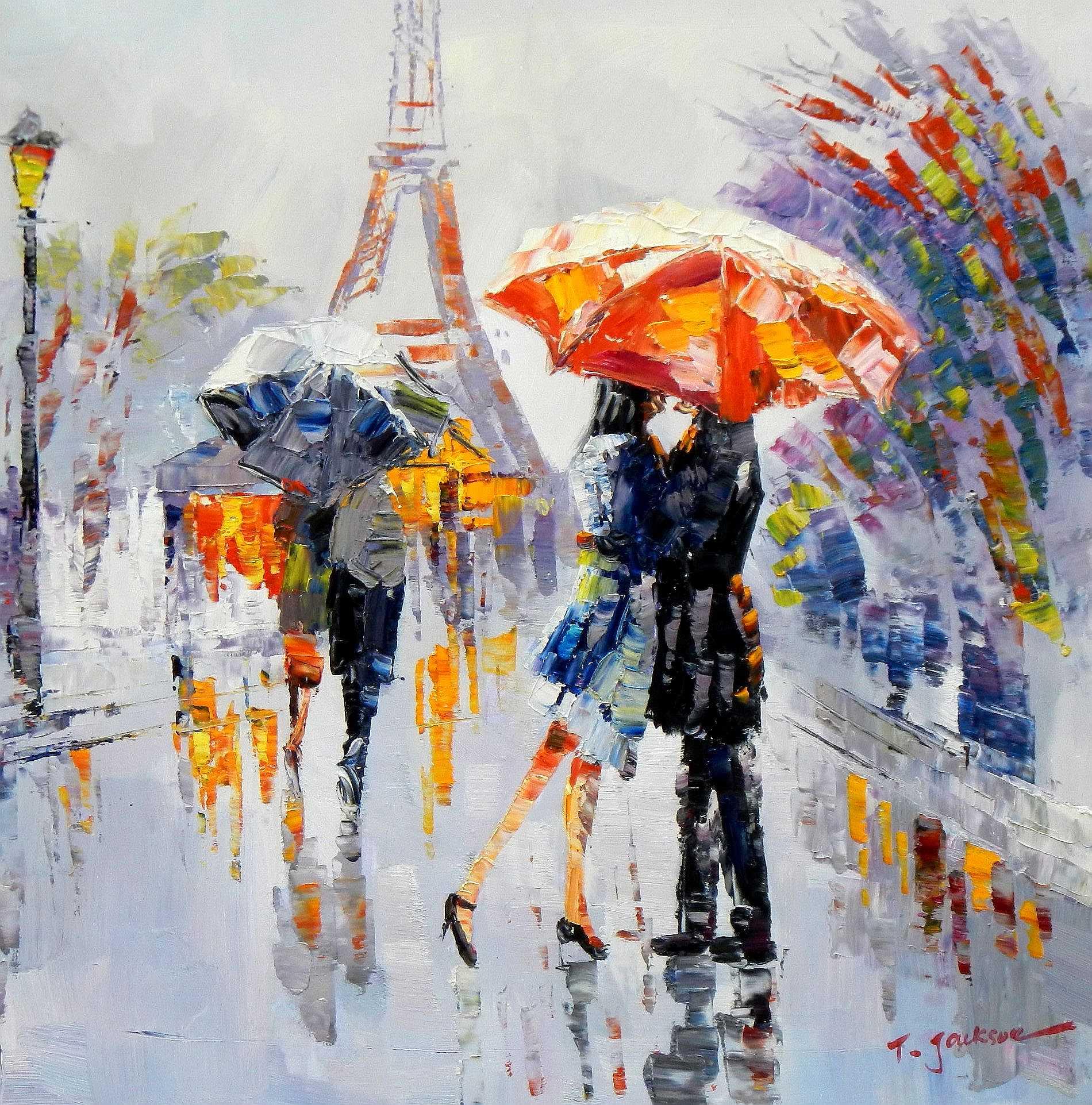 Modern Art - Umbrella love g95247 80x80cm modernes Ölgemälde