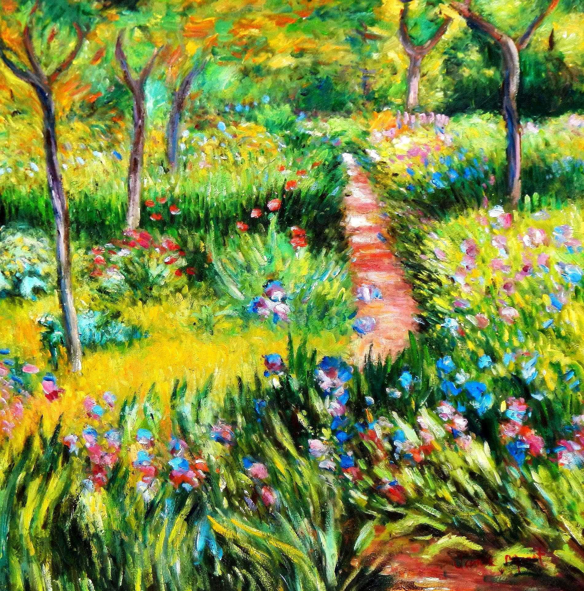 Claude Monet - Monet´s Garten in Giverny g95248 80x80cm exzellentes Ölgemälde