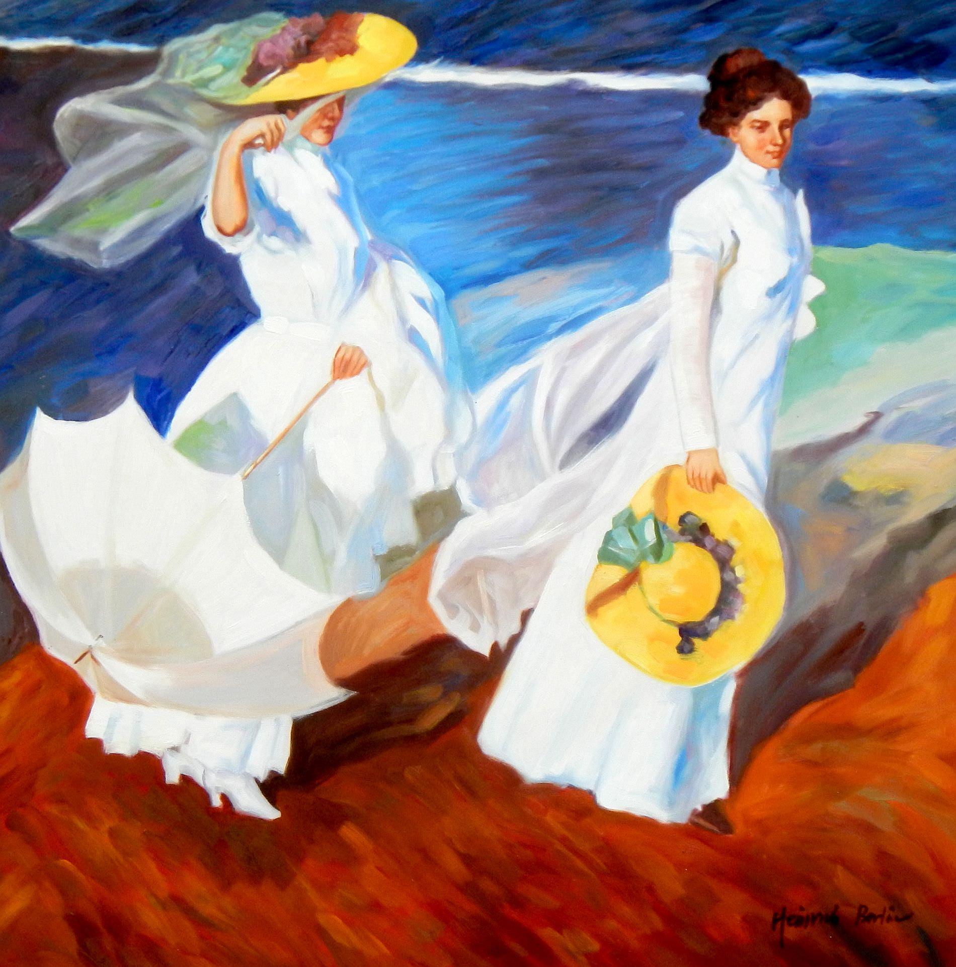 Joaquín Sorolla - Strandspaziergang g95256 80x80cm exquisites Gemälde