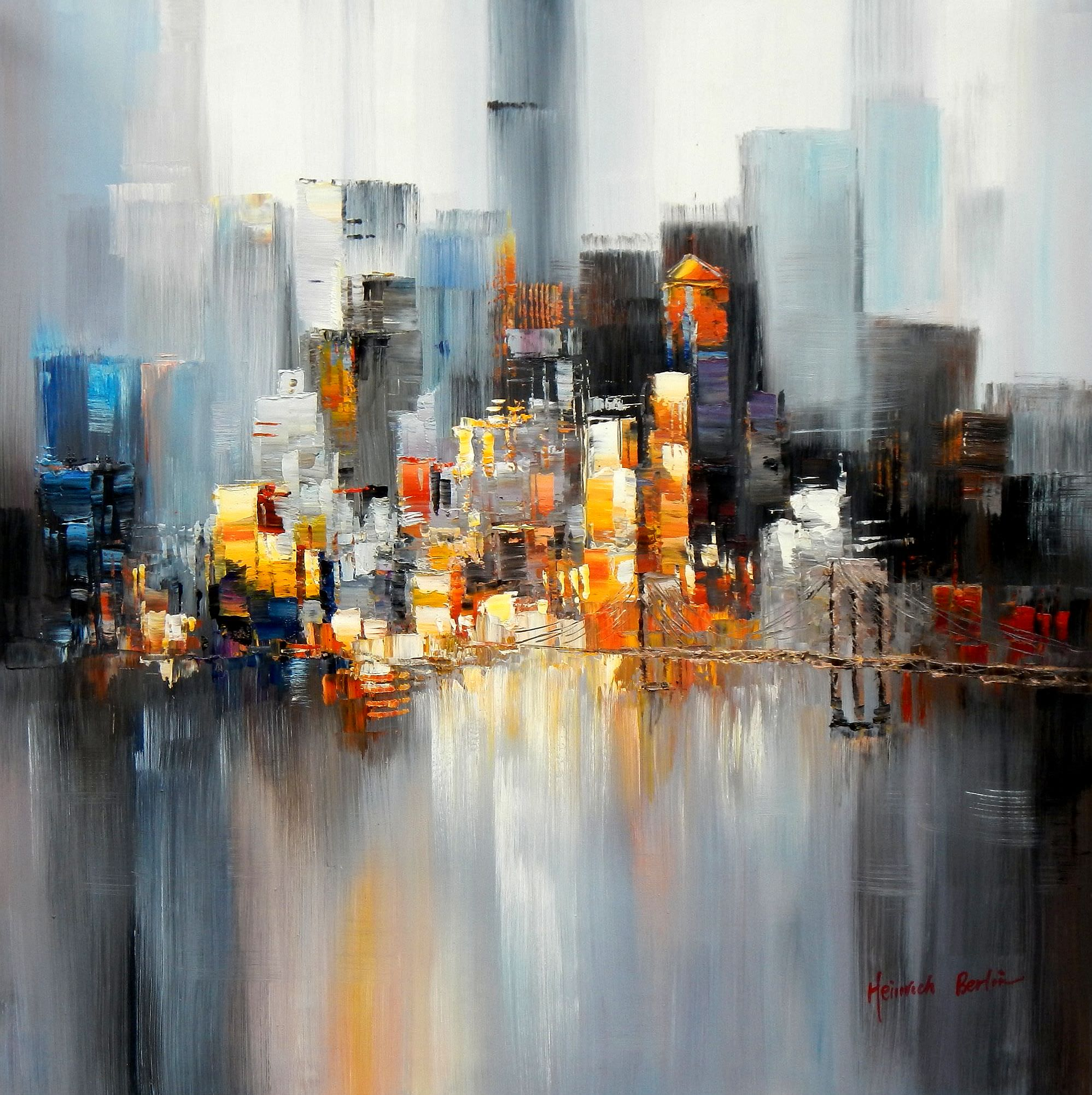 Abstrakt New York Manhattan Skyline im Morgengrau h95259 90x90cm abstraktes Ölbild