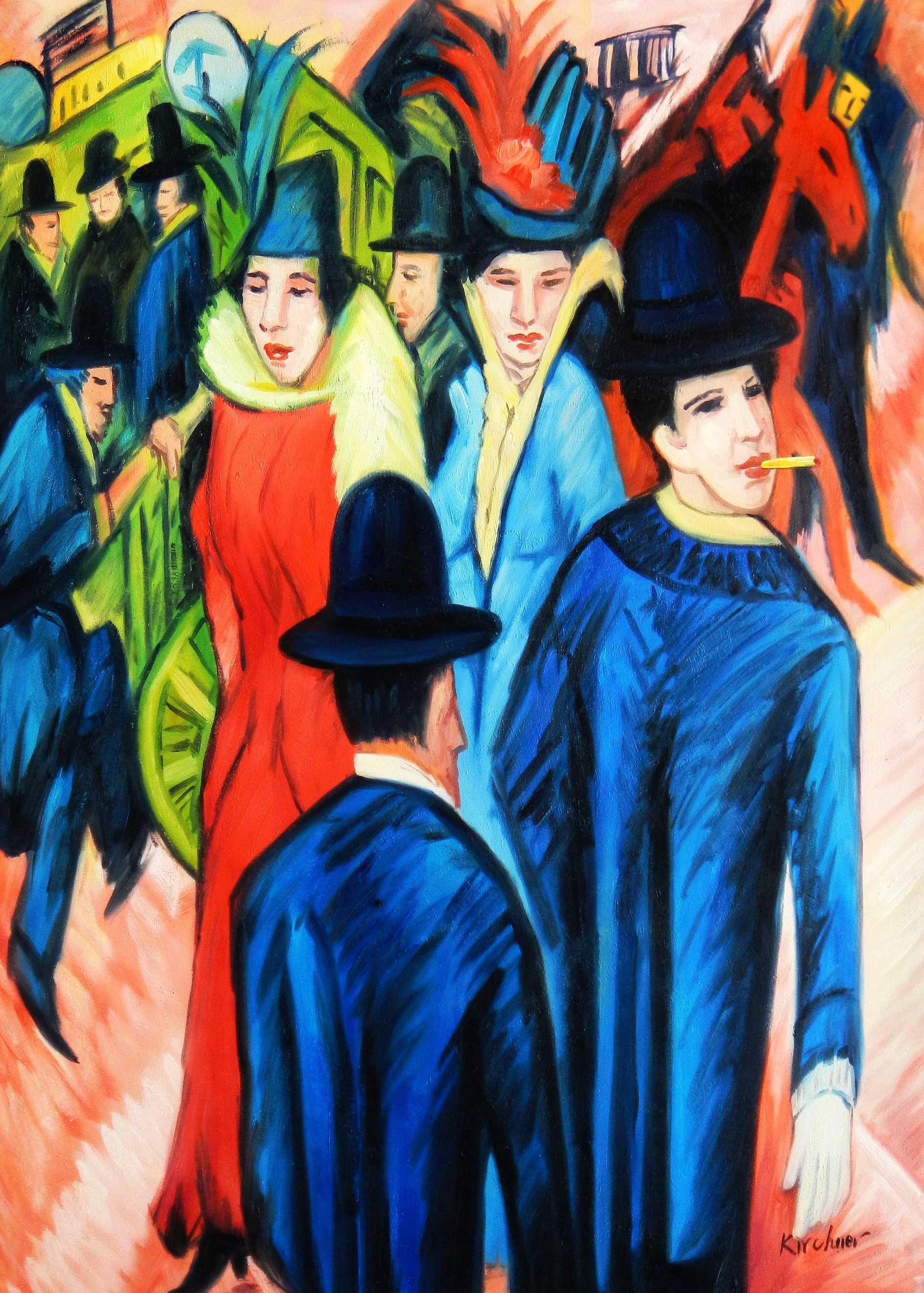 Ernst Ludwig Kirchner - Berliner Straßenszene i95262 80x110cm exquisites Ölbild