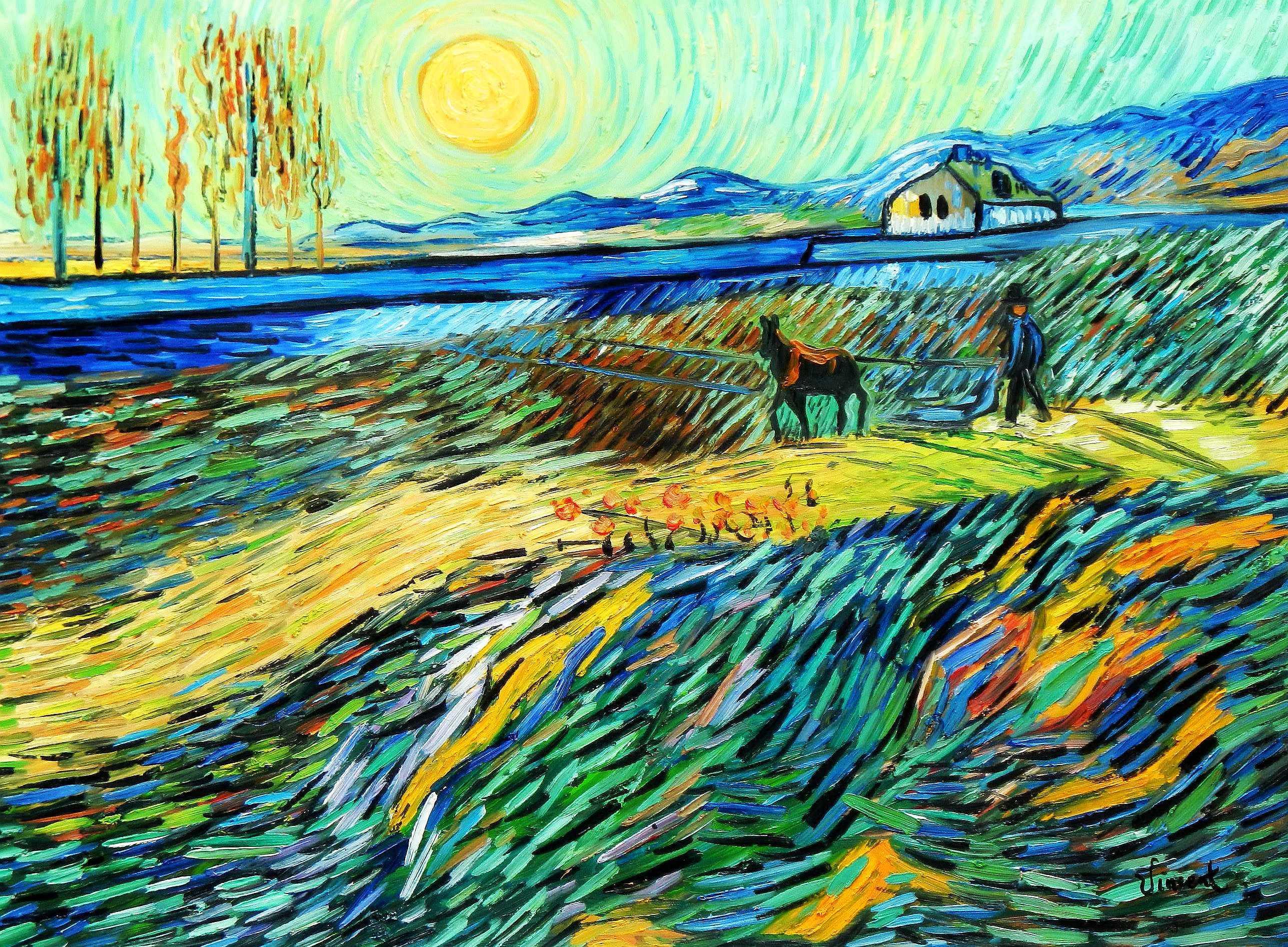 Vincent van Gogh - Acker mit pflügendem Bauern i95269 80x110cm Ölbild handgemalt