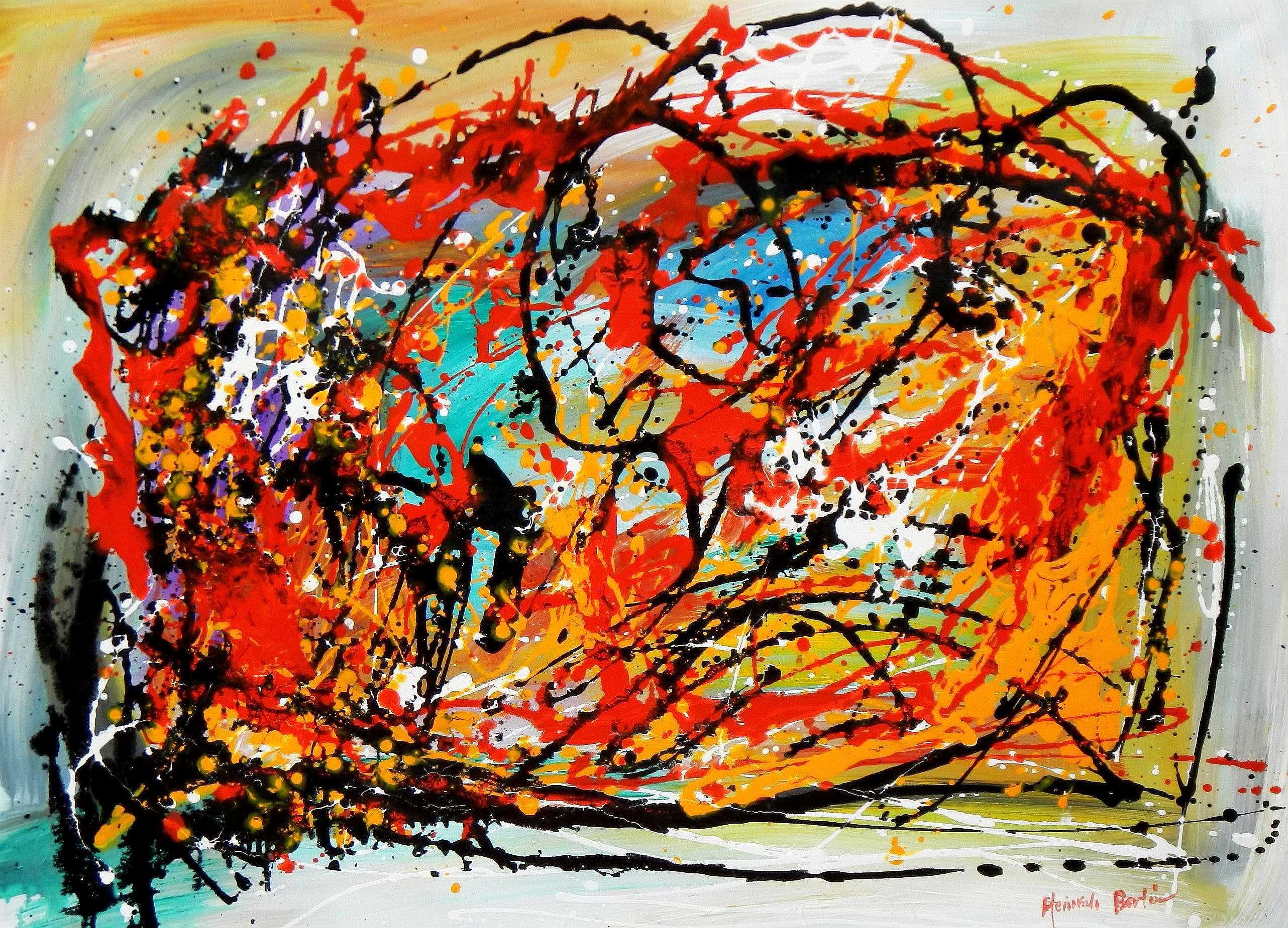 Abstract - Pollock Style Study i95279 80x110cm exquisites Gemälde