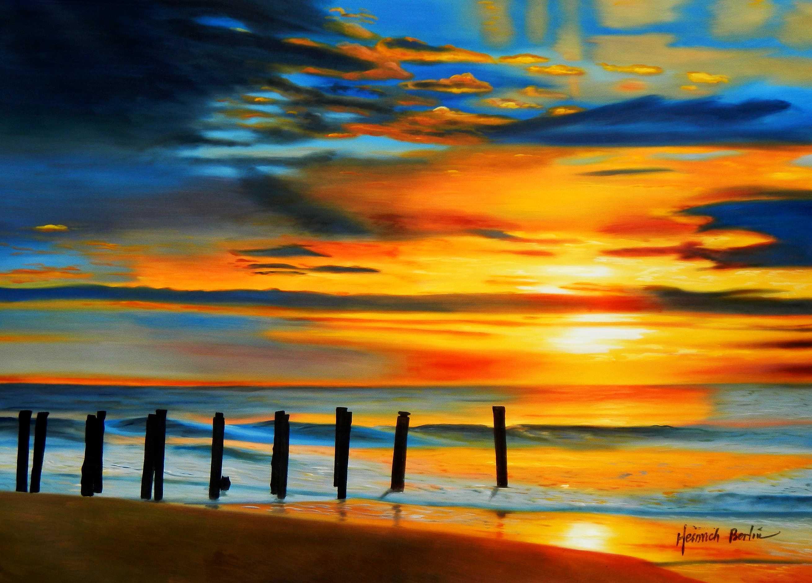 Modern Art - Nordsee Sonnenuntergang i95290 80x110cm handgemaltes Ölbild