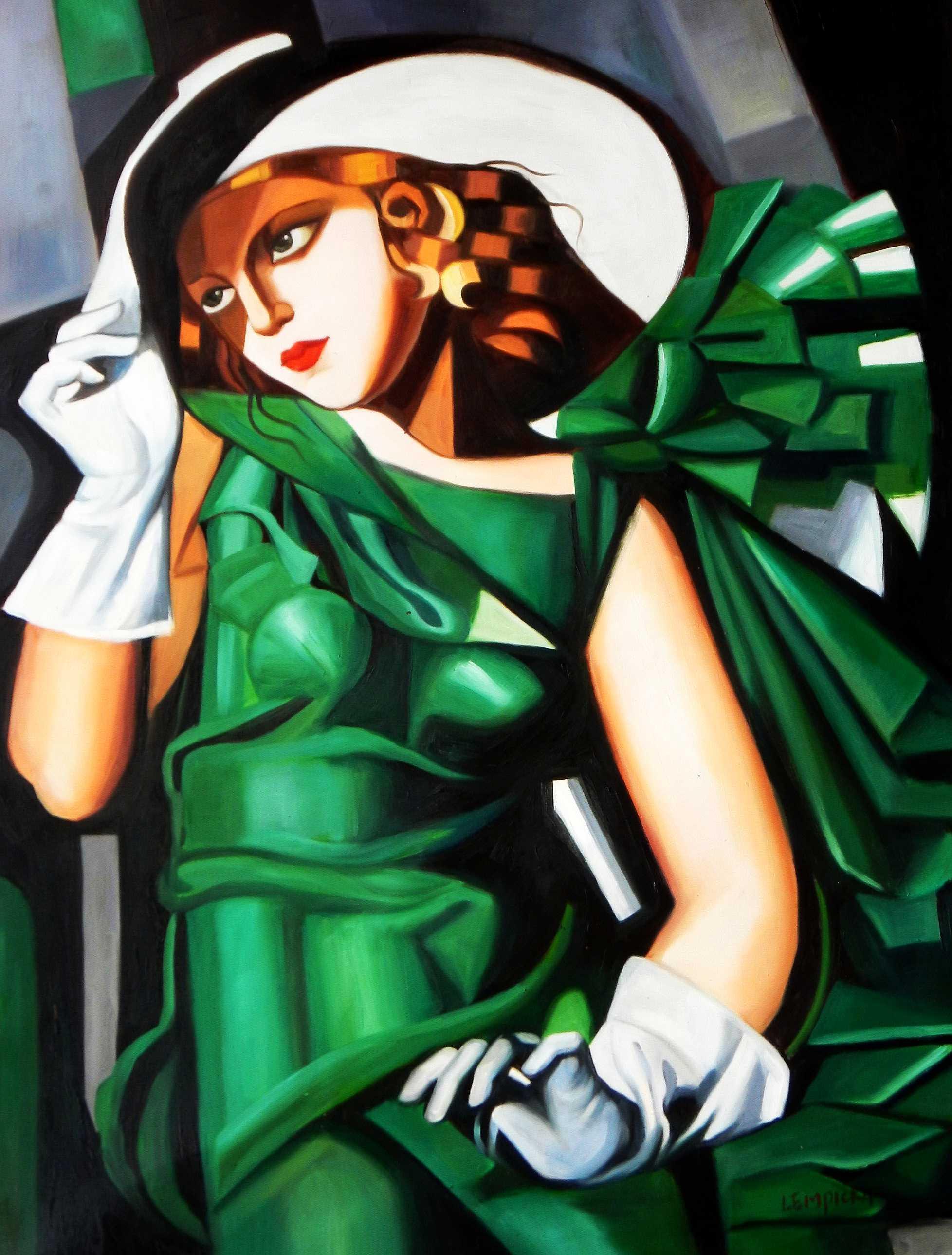 Homage to T. de Lempicka - Mädchen in Grün mit Handschuhen k95295 90x120cm Ölbild