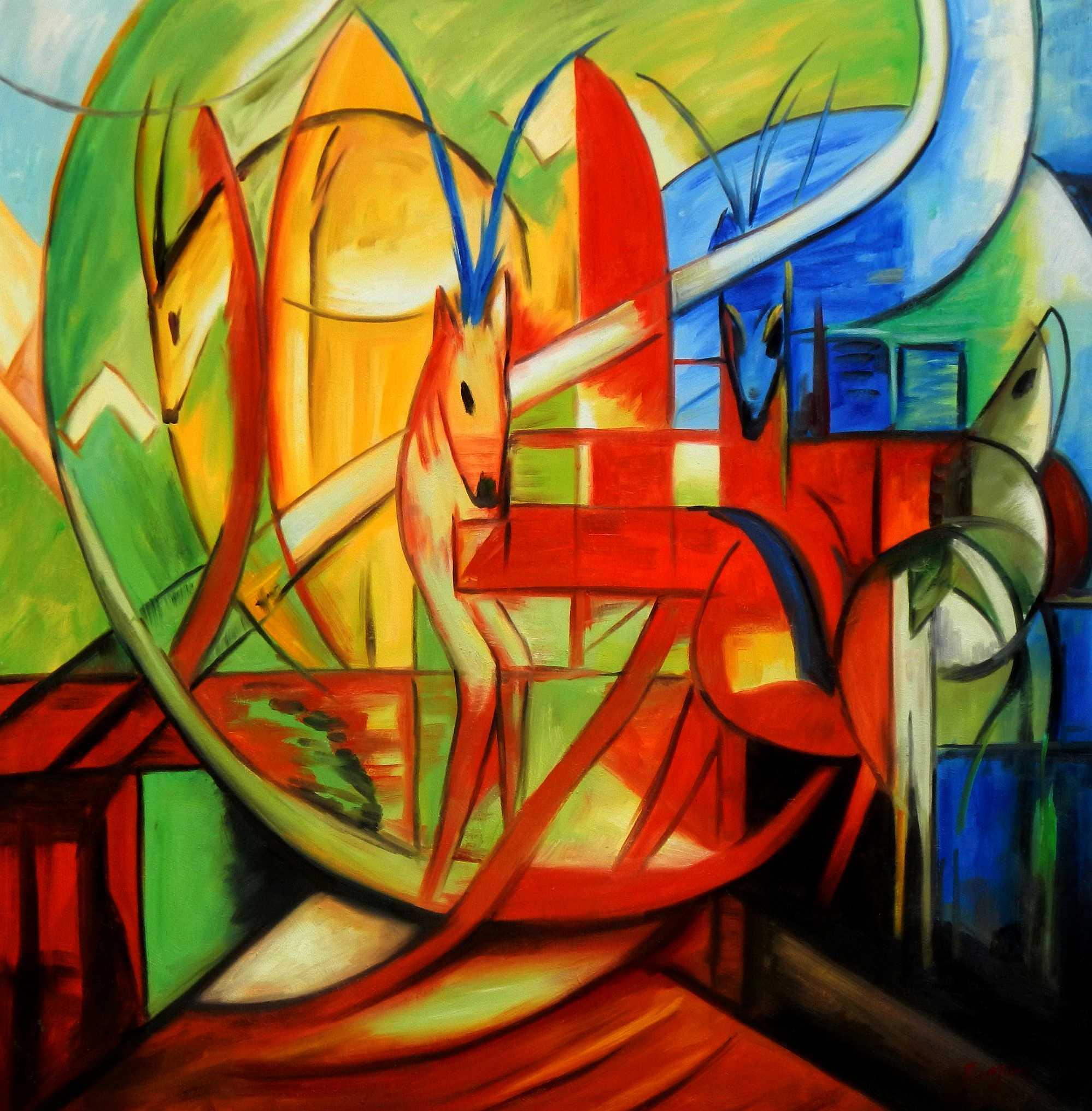 Franz Marc - Gazellen m95315 120x120cm Expressionismus Ölgemälde