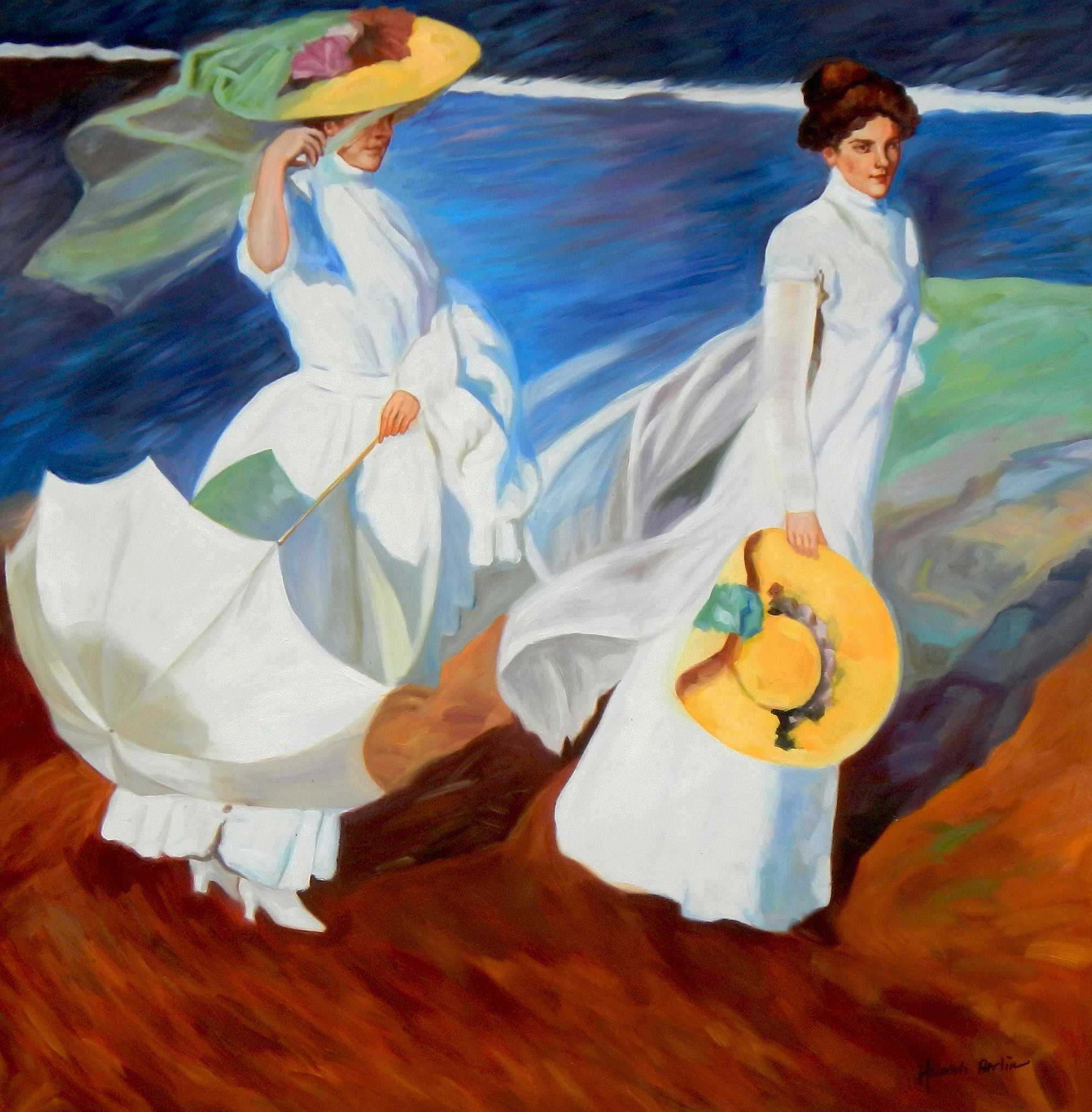 Joaquín Sorolla - Strandspaziergang m95317 120x120cm exquisites Gemälde