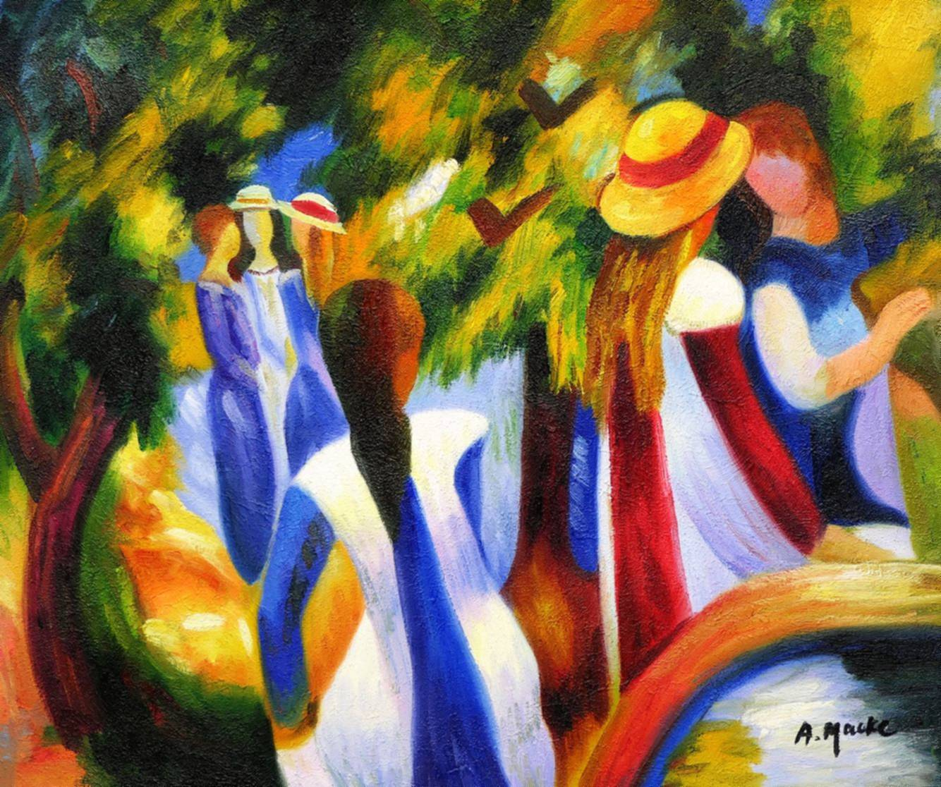 August Macke - Mädchen unter Bäumen c97017 50x60cm beeindruckendes Ölbild