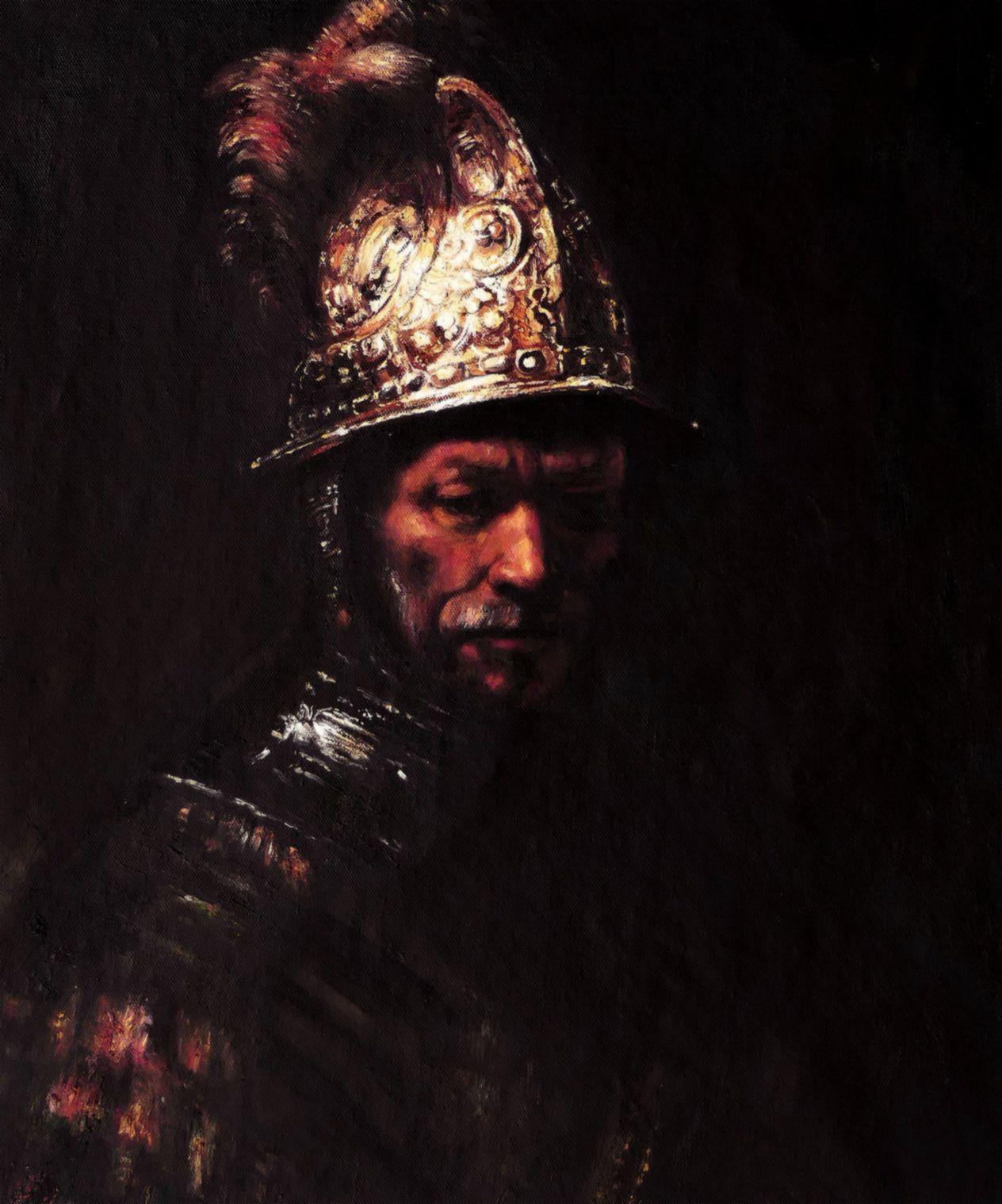 Rembrandt - Mann mit Goldhelm c97216 50x60cm edles Ölgemälde handgemalt Museumsqualität