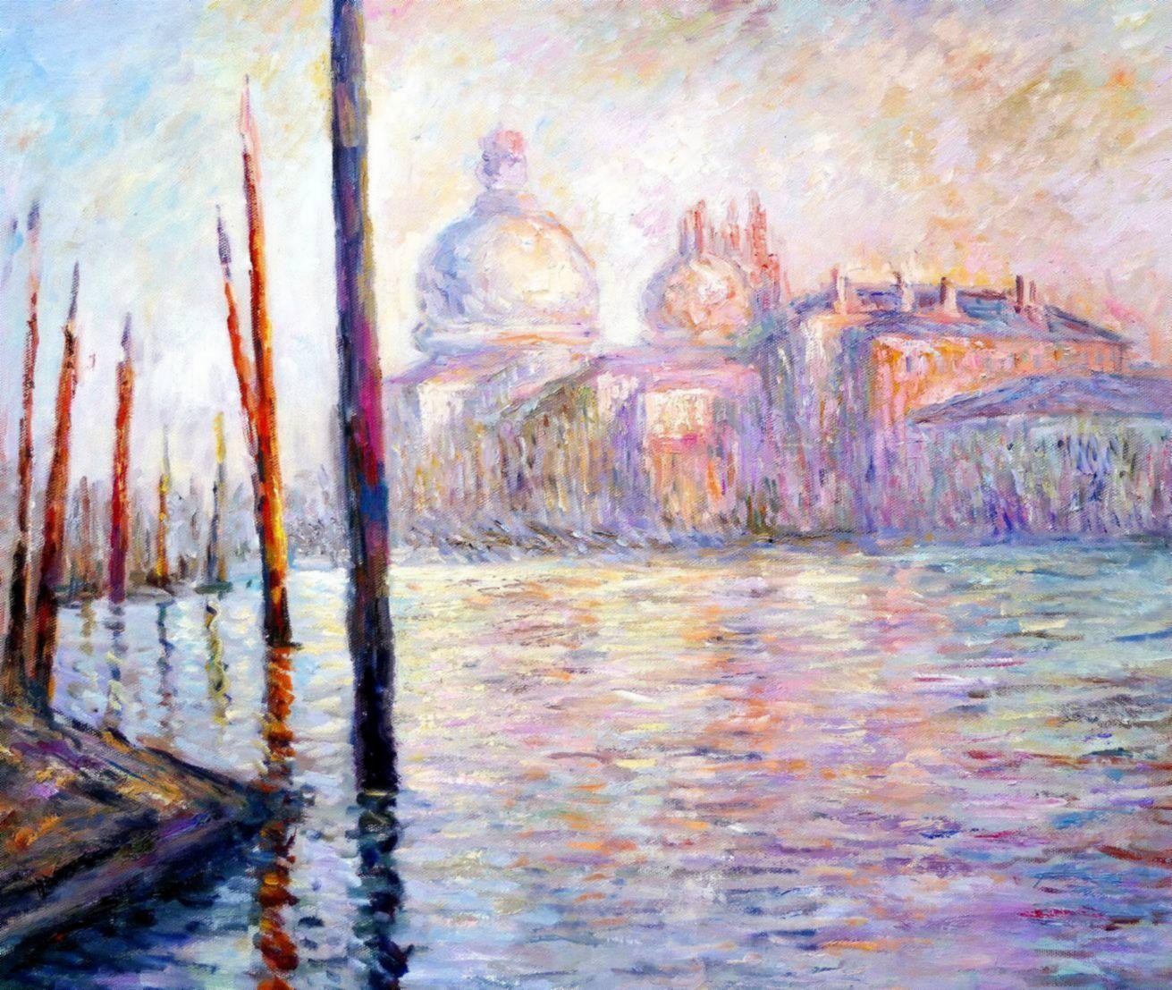 Claude Monet - Blick auf Venedig c97221 50x60cm exzellentes Ölgemälde handgemalt Museumsqualität