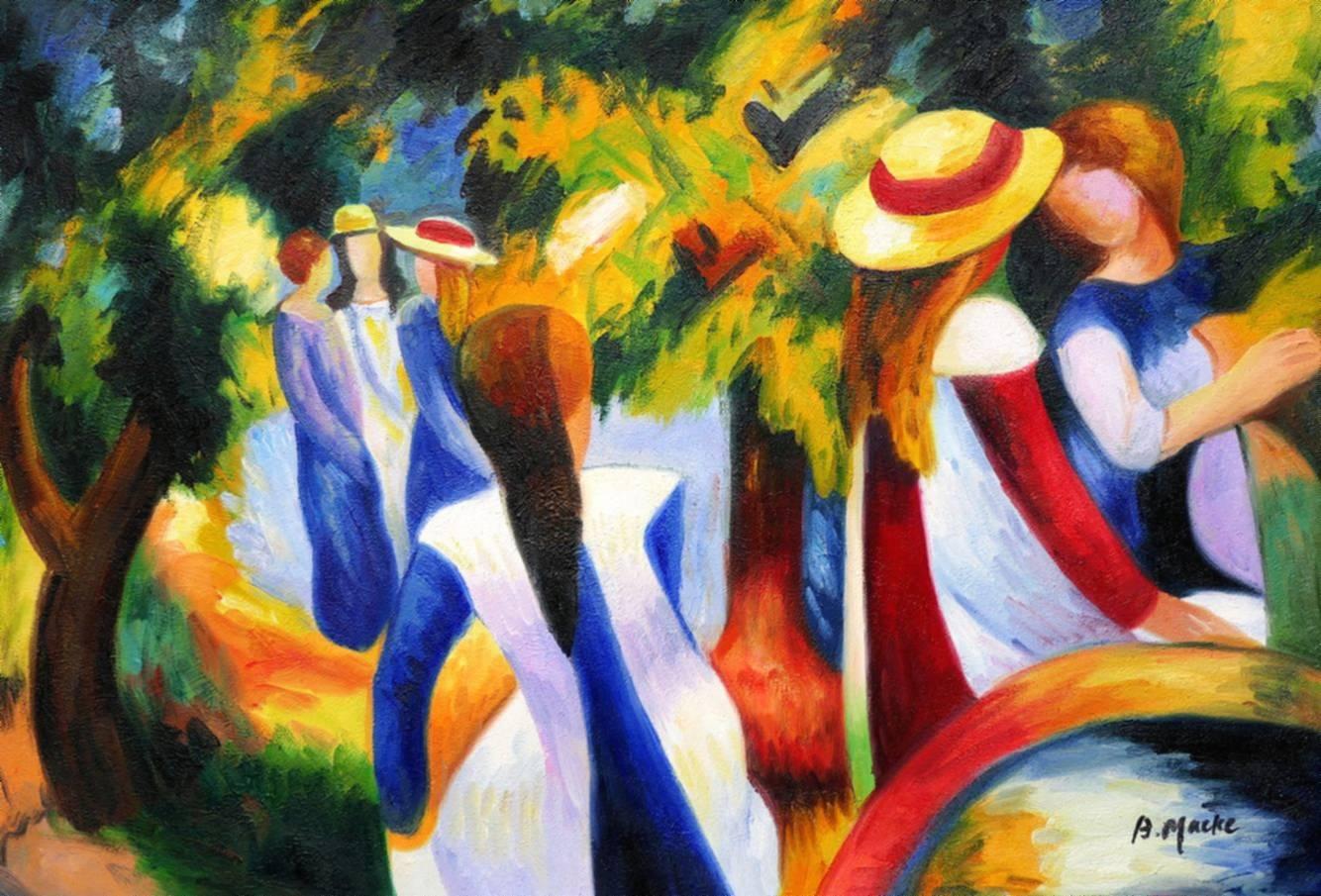 August Macke - Mädchen unter Bäumen d97088 60x90cm beeindruckendes Ölbild