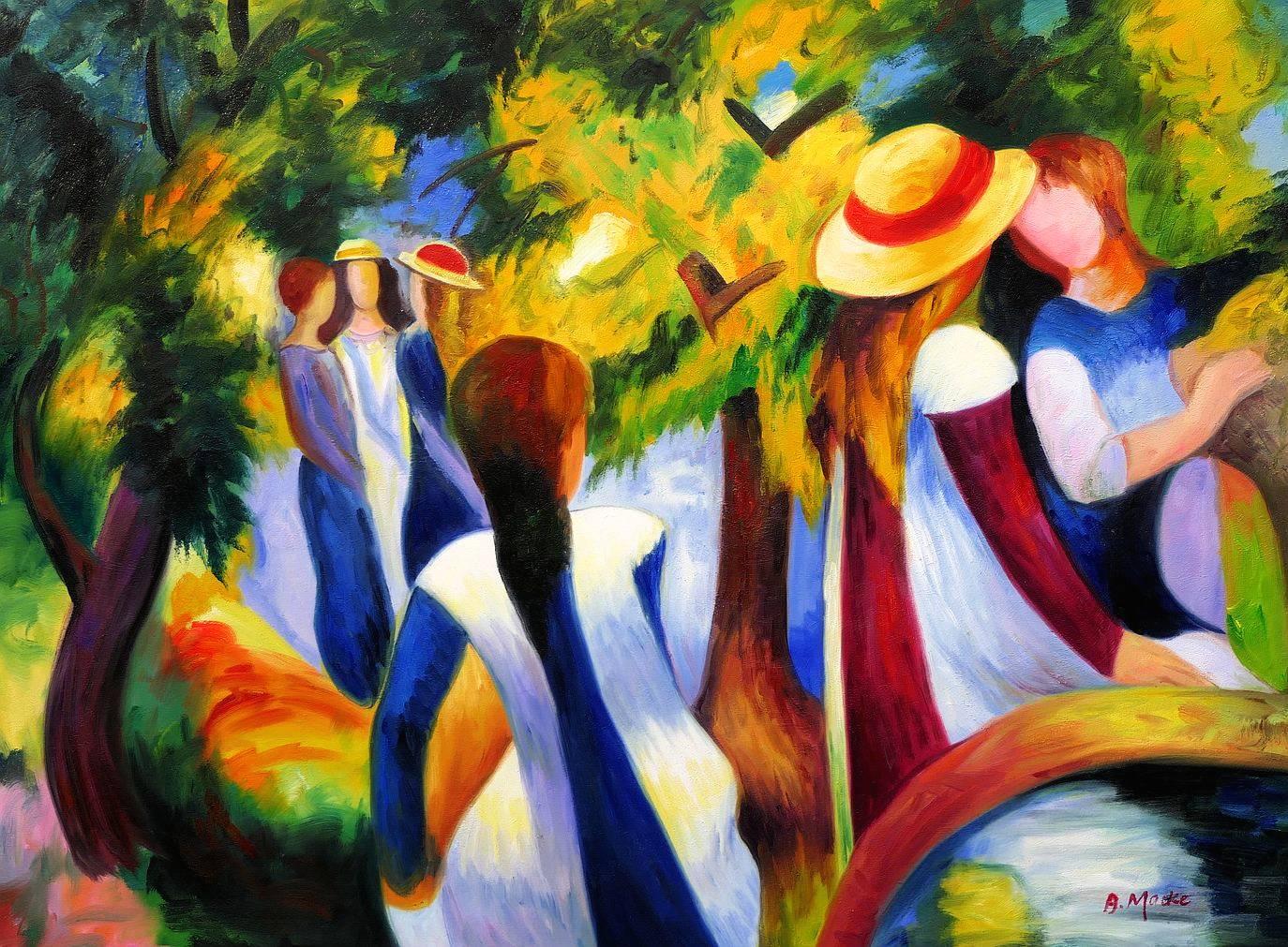 August Macke - Mädchen unter Bäumen k97171 90x120cm beeindruckendes Ölbild