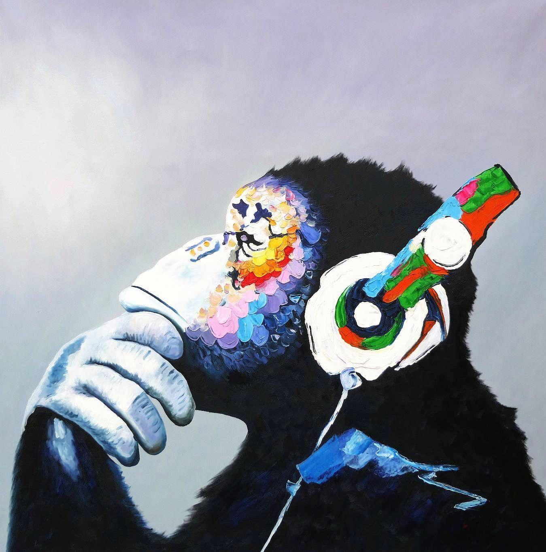 Modern Art - Monkey Music m97175 120x120cm exquisites Ölbild