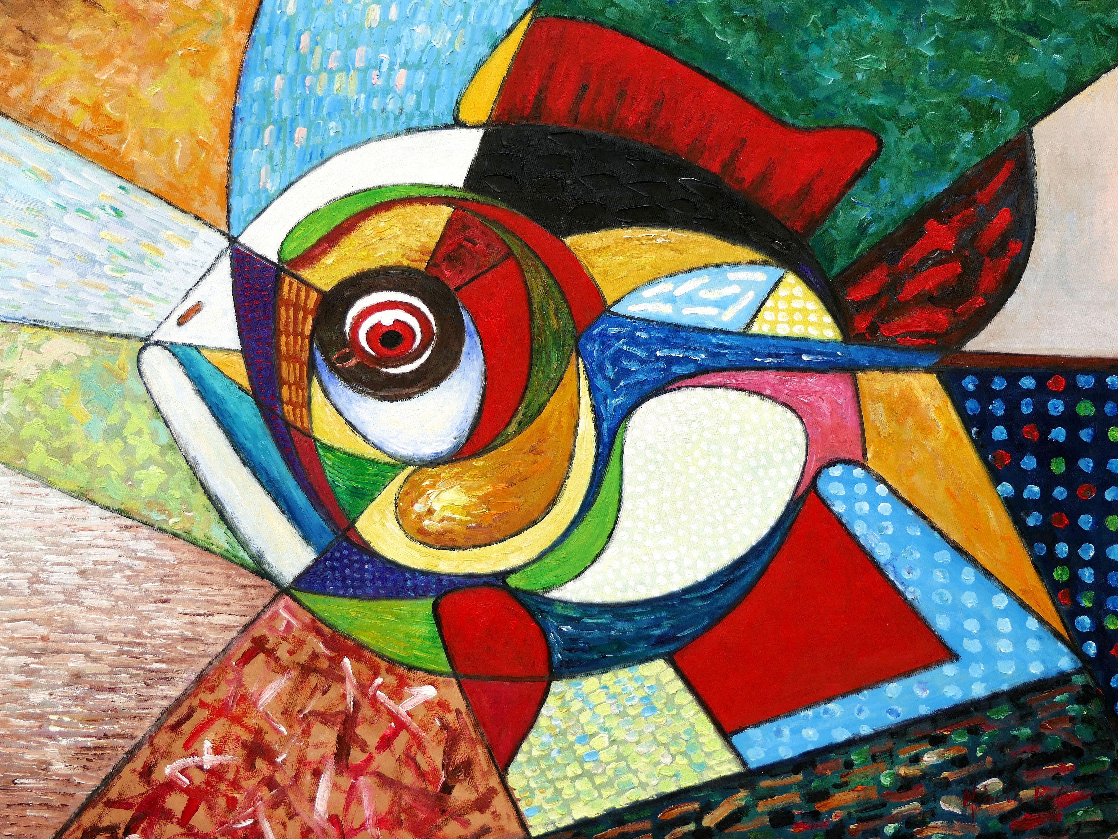 Abstrakt - Der lustige Clownfisch i97463 80x110cm lustiges Ölbild