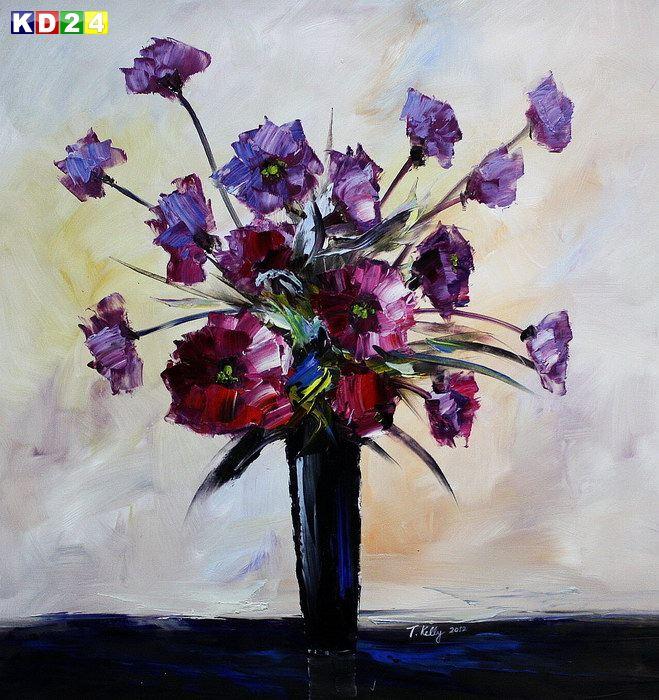Modern Abstrakt - Vase mit violetten Blumen x82089 G 100x100cm Ölbild handgemalt