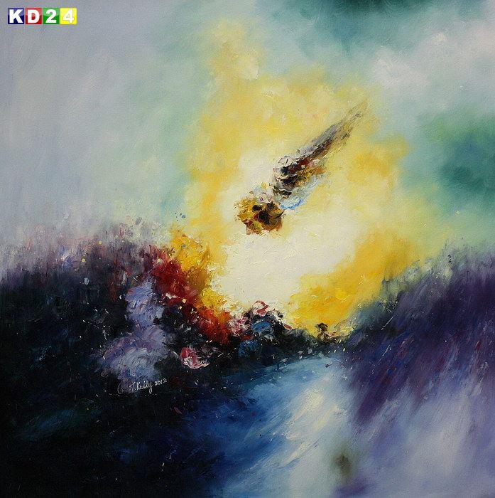 Modern Art - Abstract Sunrise x82099 100x100cm abstraktes Ölbild handgemalt