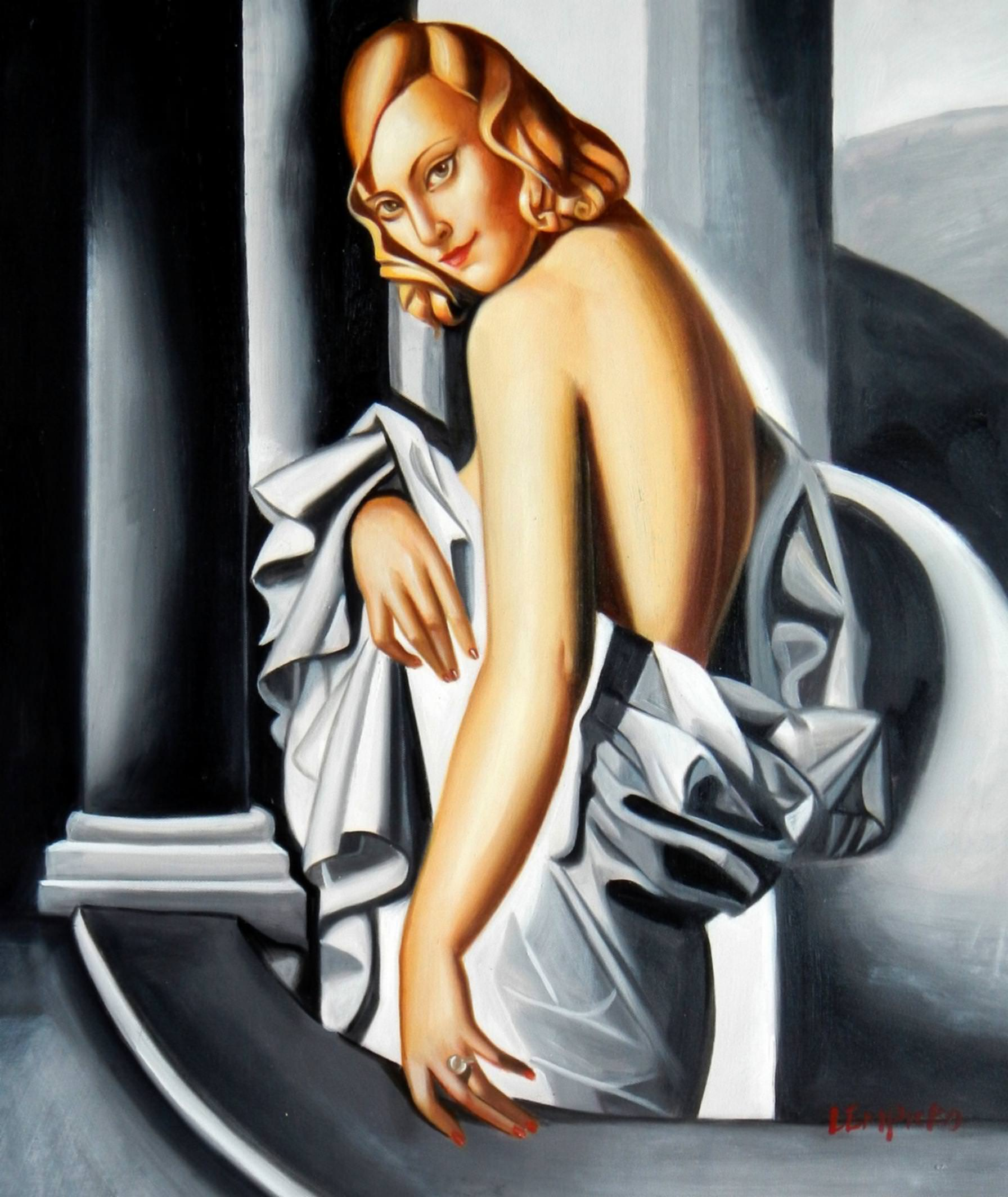 Homage of T. de Lempicka - Portrait der Marjorie Ferry c92864 50x60cm Ölbild handgemalt