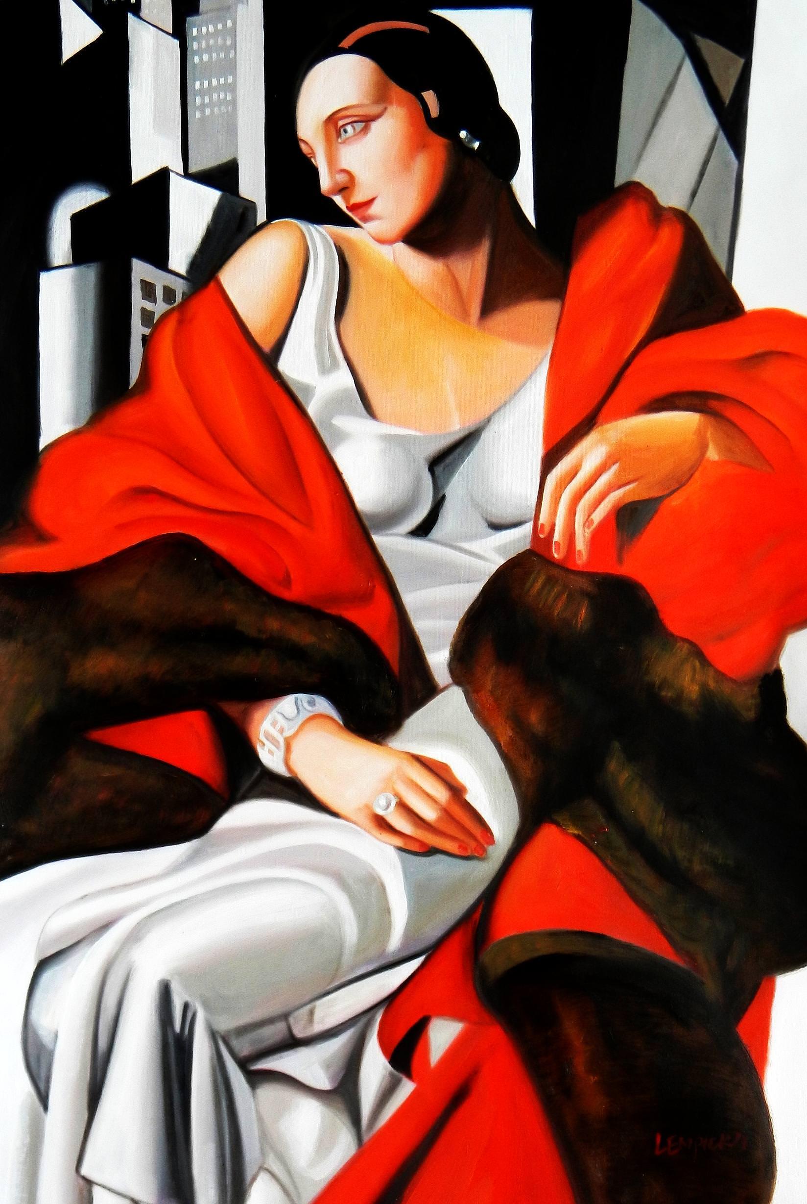 Homage to T. de Lempicka - Portrait der Madame Boucard d92892 60x90cm Art Deco Ölgemälde handgemalt