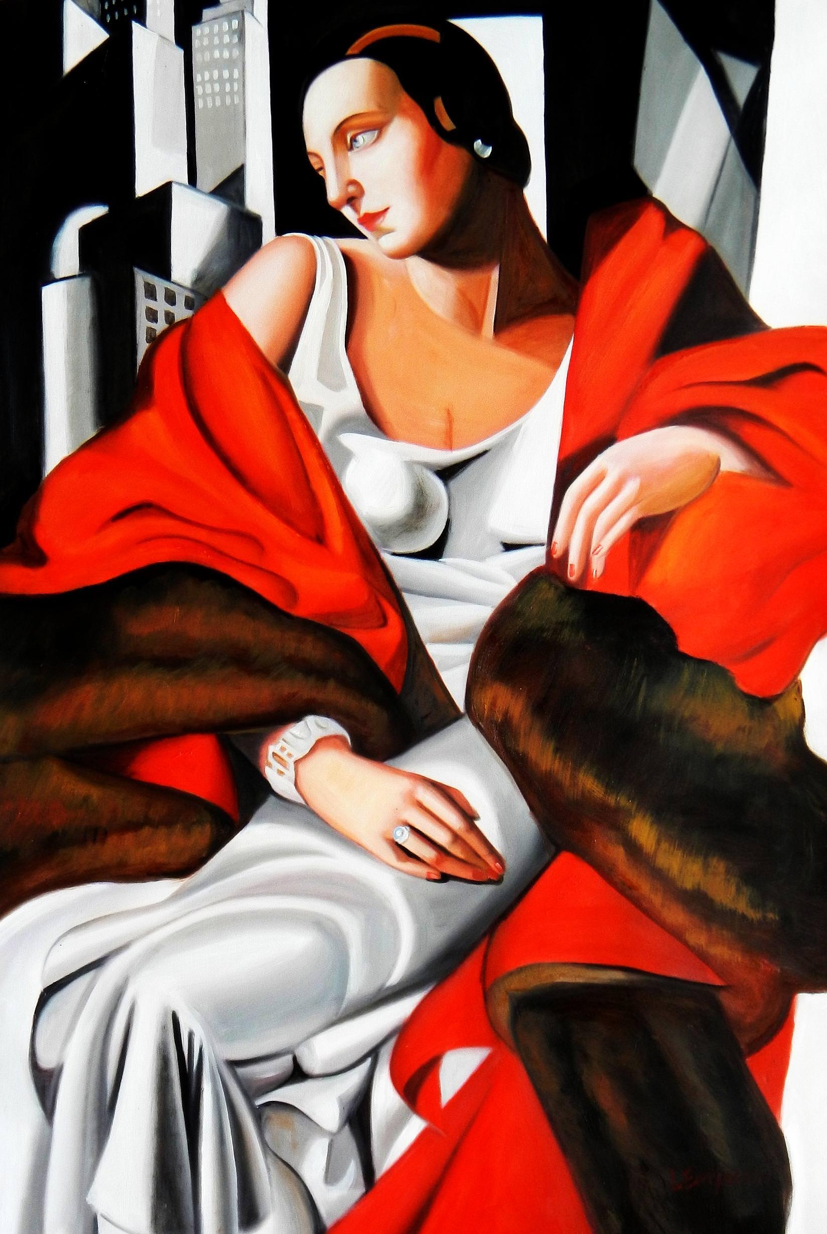 Homage to T. de Lempicka - Portrait der Madame Boucard d92894 60x90cm Art Deco Ölgemälde handgemalt