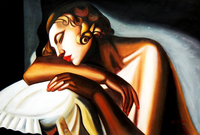 Homage of Tamara de Lempicka - Die Schläferin II d92911 60x90cm Art Deco Ölbild handgemalt