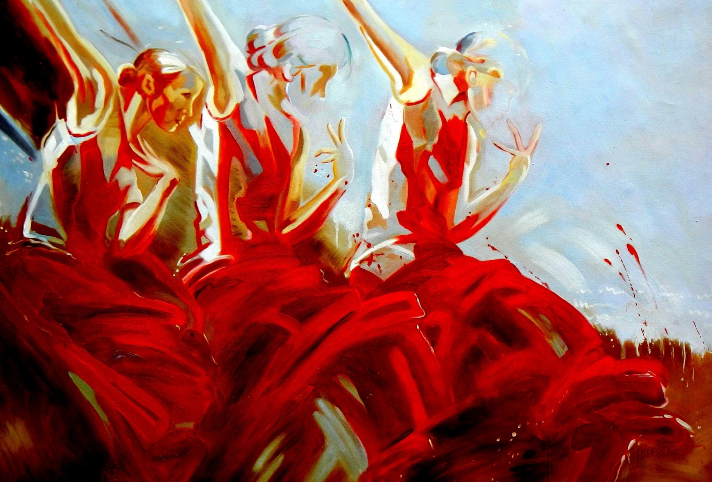 Modern Art - tres de flamenco d92912 60x90cm exquisites Gemälde