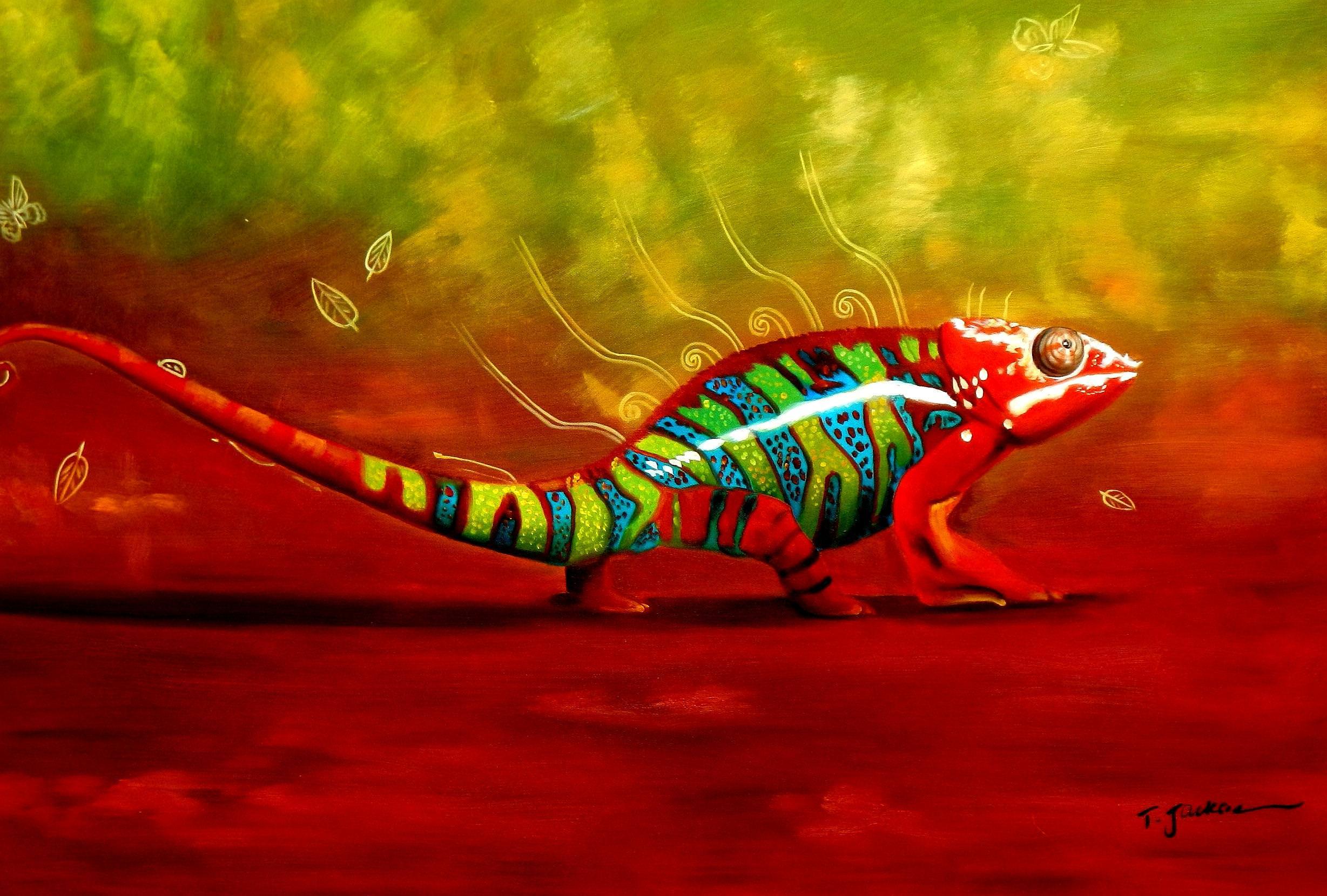 Modern Abstract - The colored chameleon d92915 60x90cm exzellentes Ölgemälde