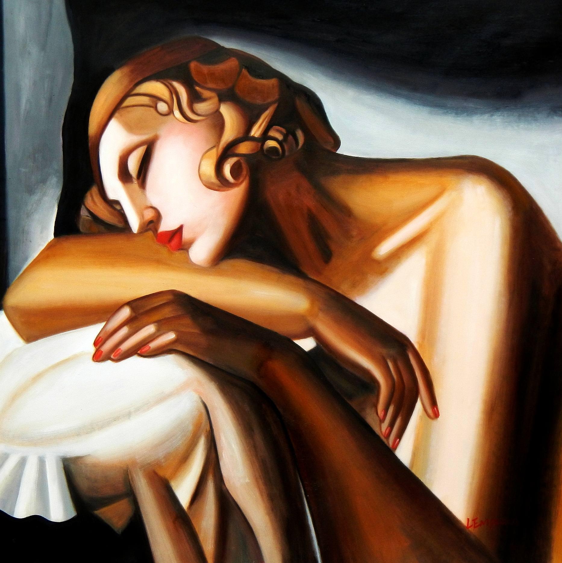 Homage of Tamara de Lempicka - Die Schläferin II g92940 80x80cm Art Deco Ölbild handgemalt
