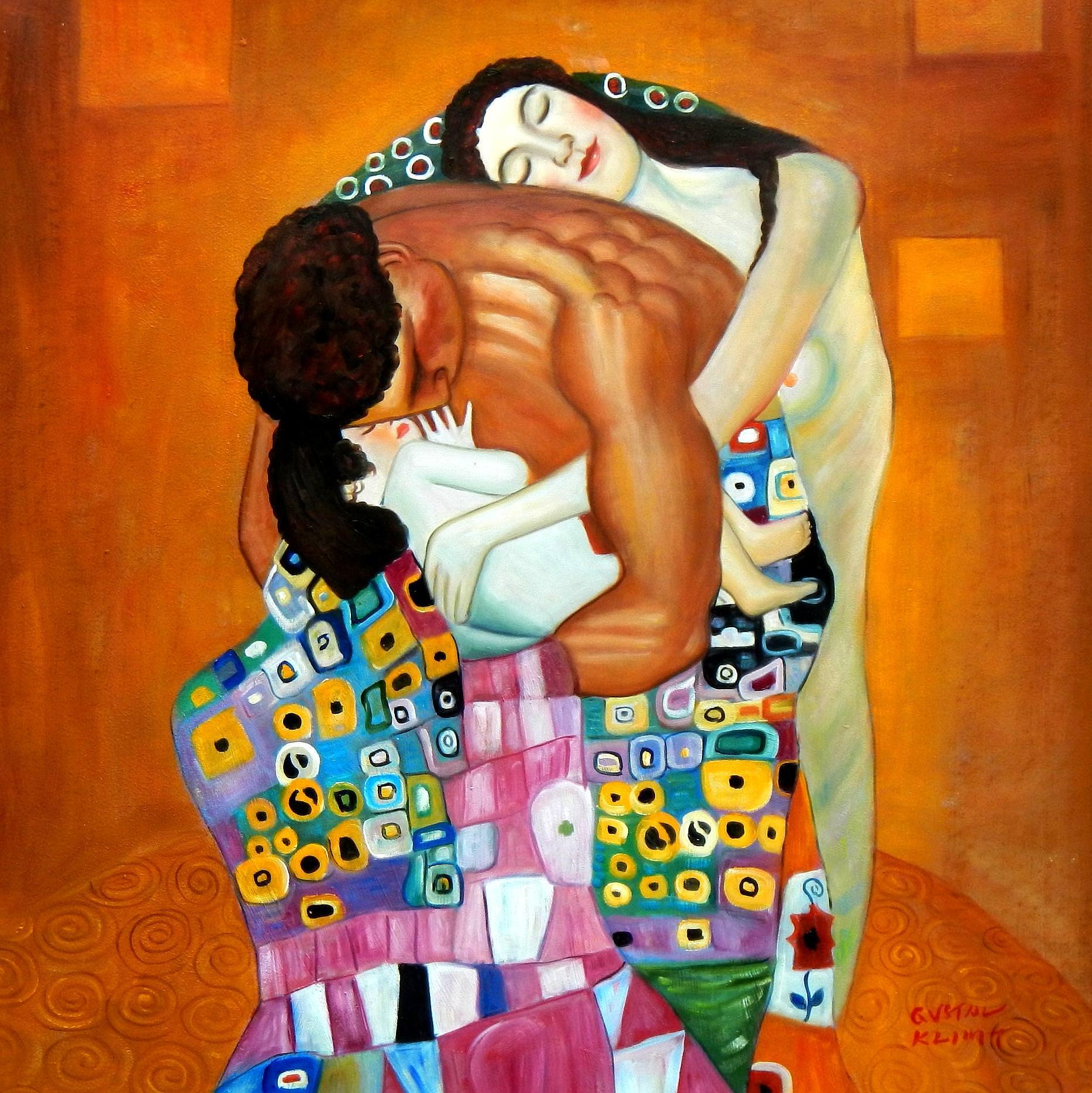 Gustav Klimt - Die Familie g92943 80x80cm Jugendstil Ölbild
