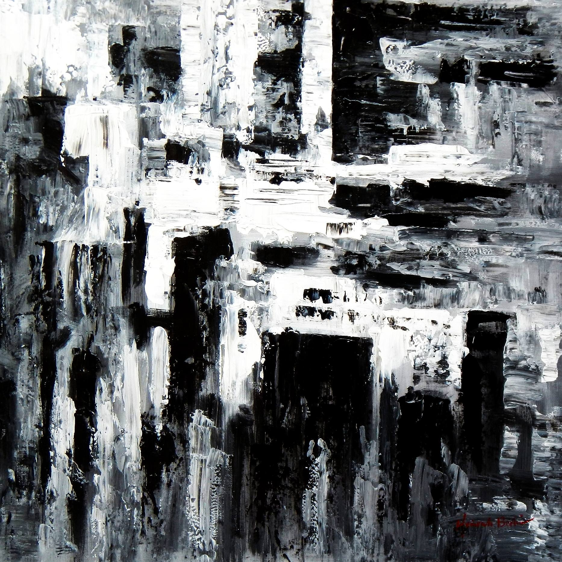 Abstrakt - Nacht in New York g92949 80x80cm Ölgemälde handgemalt