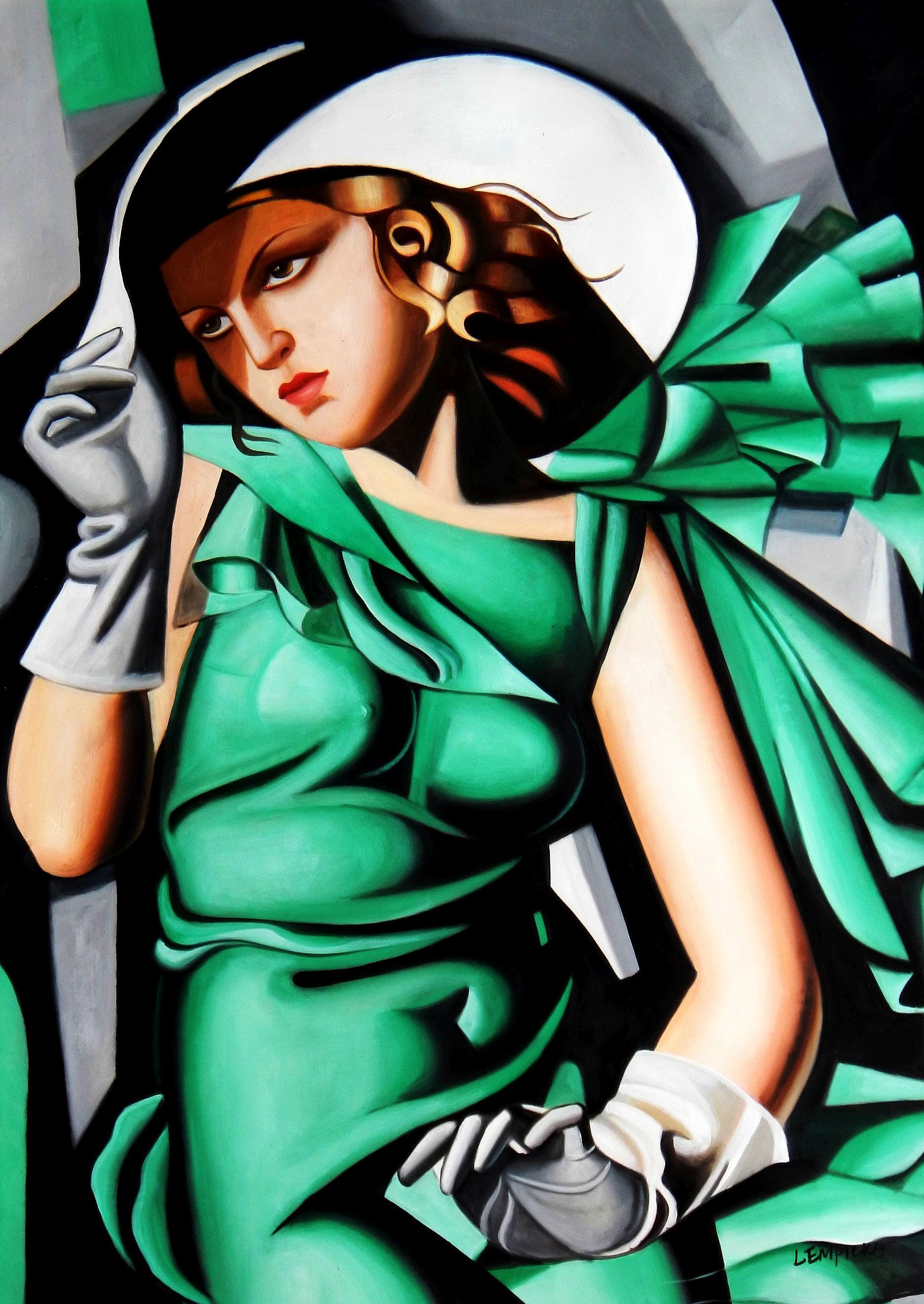 Homage to T. de Lempicka - Mädchen in Grün mit Handschuhen i92957 80x110cm Ölbild