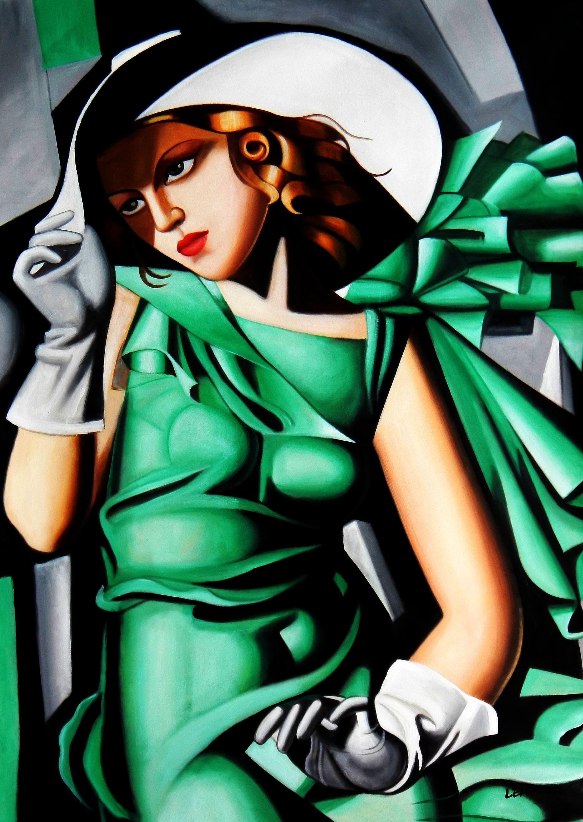 Homage to T. de Lempicka - Mädchen in Grün mit Handschuhen i92958 80x110cm Ölbild