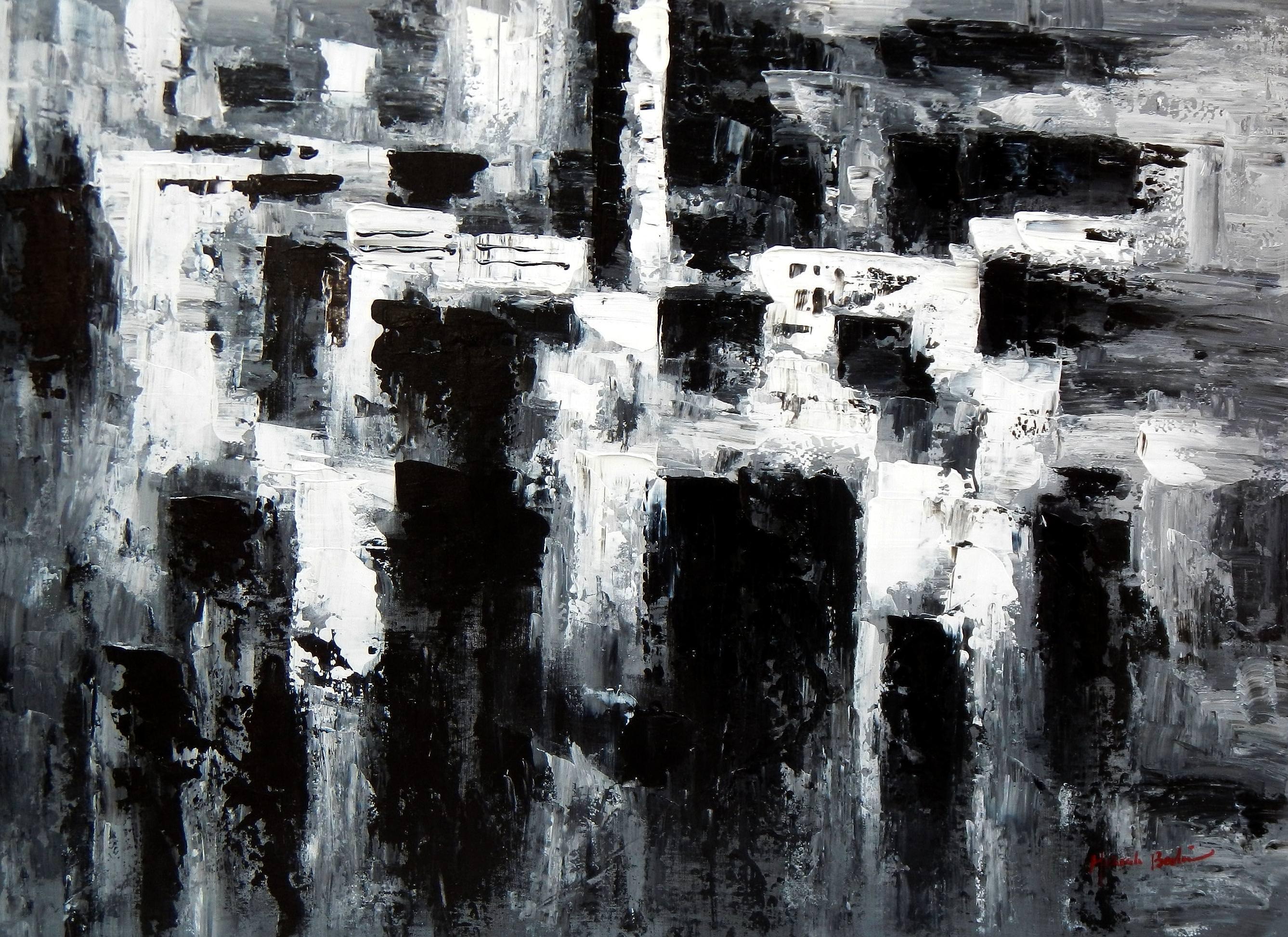 Abstrakt - Nacht in New York i92970 80x110cm Ölgemälde handgemalt