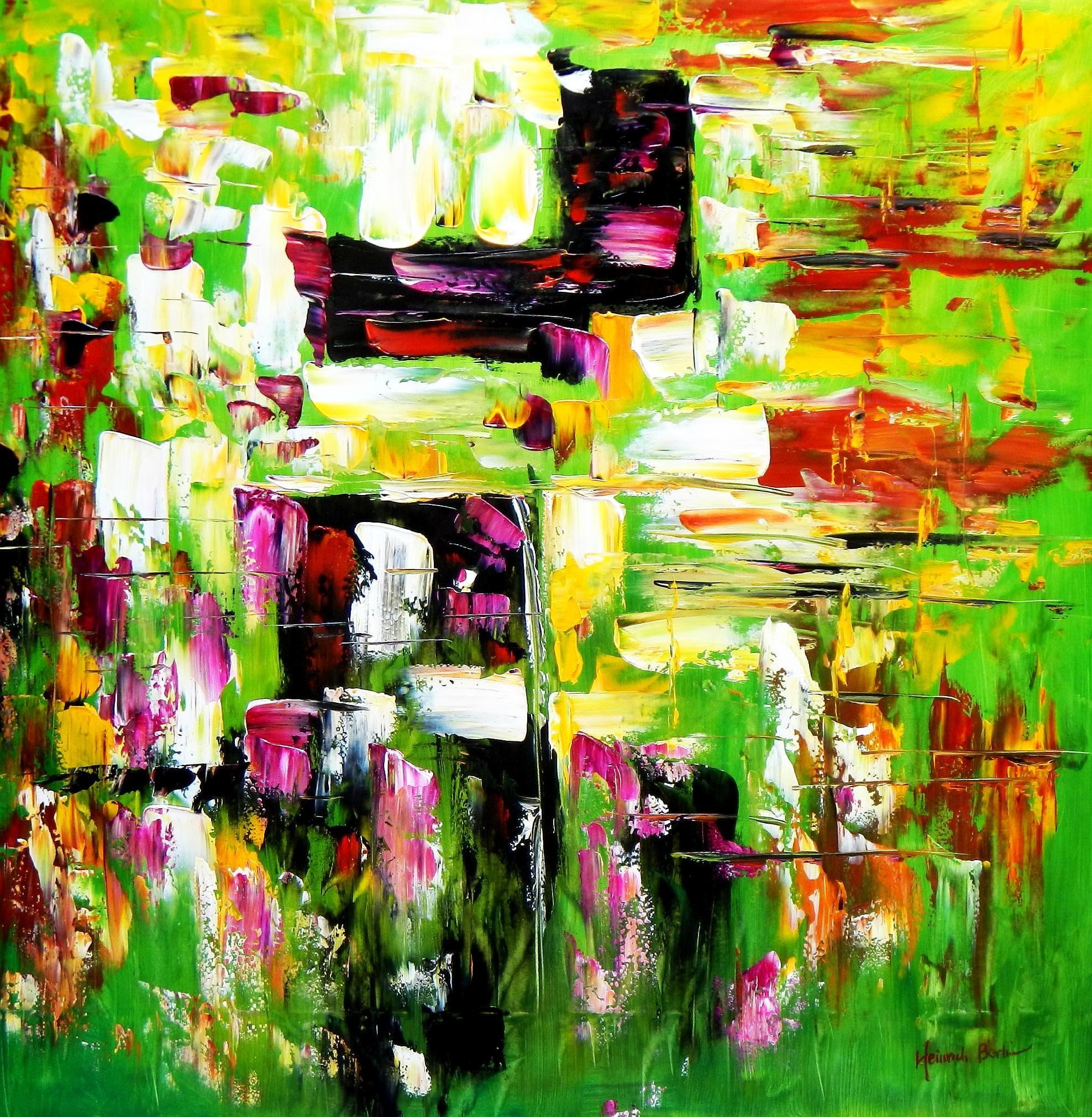 Abstrakt - Berlin Tiergarten m92998 120x120cm abstraktes Ölbild handgemalt