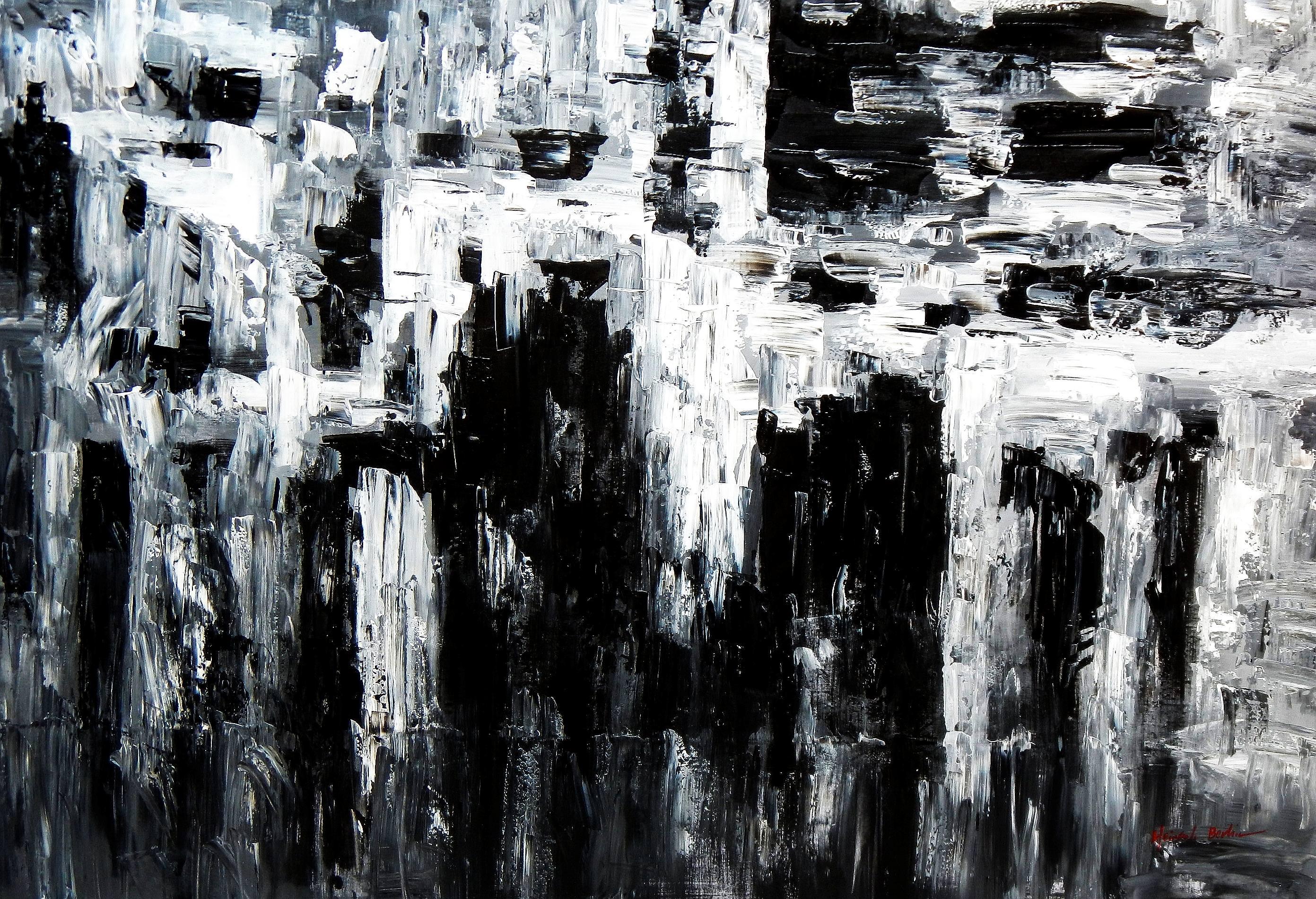 Abstrakt - Nacht in New York p93018 120x180cm Ölgemälde handgemalt