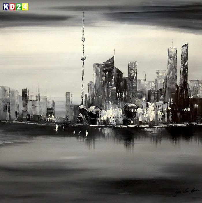 Modern Art Skyline Shanghai im Mondschein g84848 80x80cm abstraktes Ölgemälde