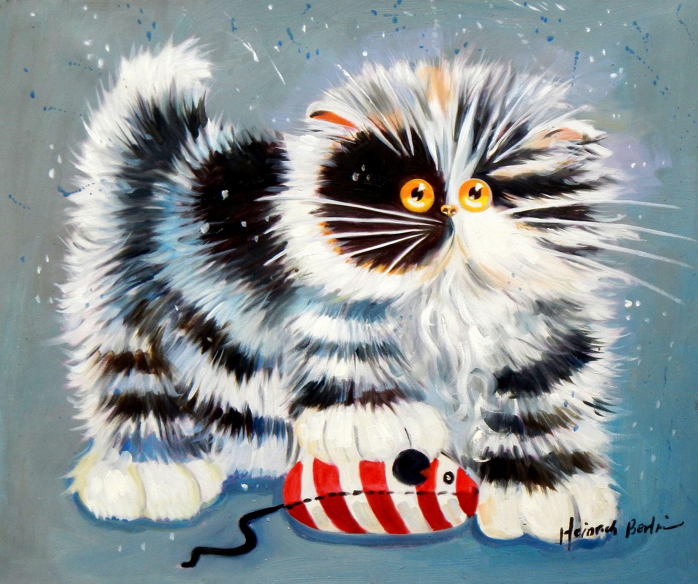 Pop Art - Klein Minka auf Maus c96662 50x60cm lustiges Ölbild handgemalt