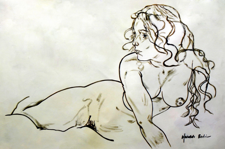 Egon Schiele - sich aufstützender Akt d96748 60x90cm Ölbild handgemalt