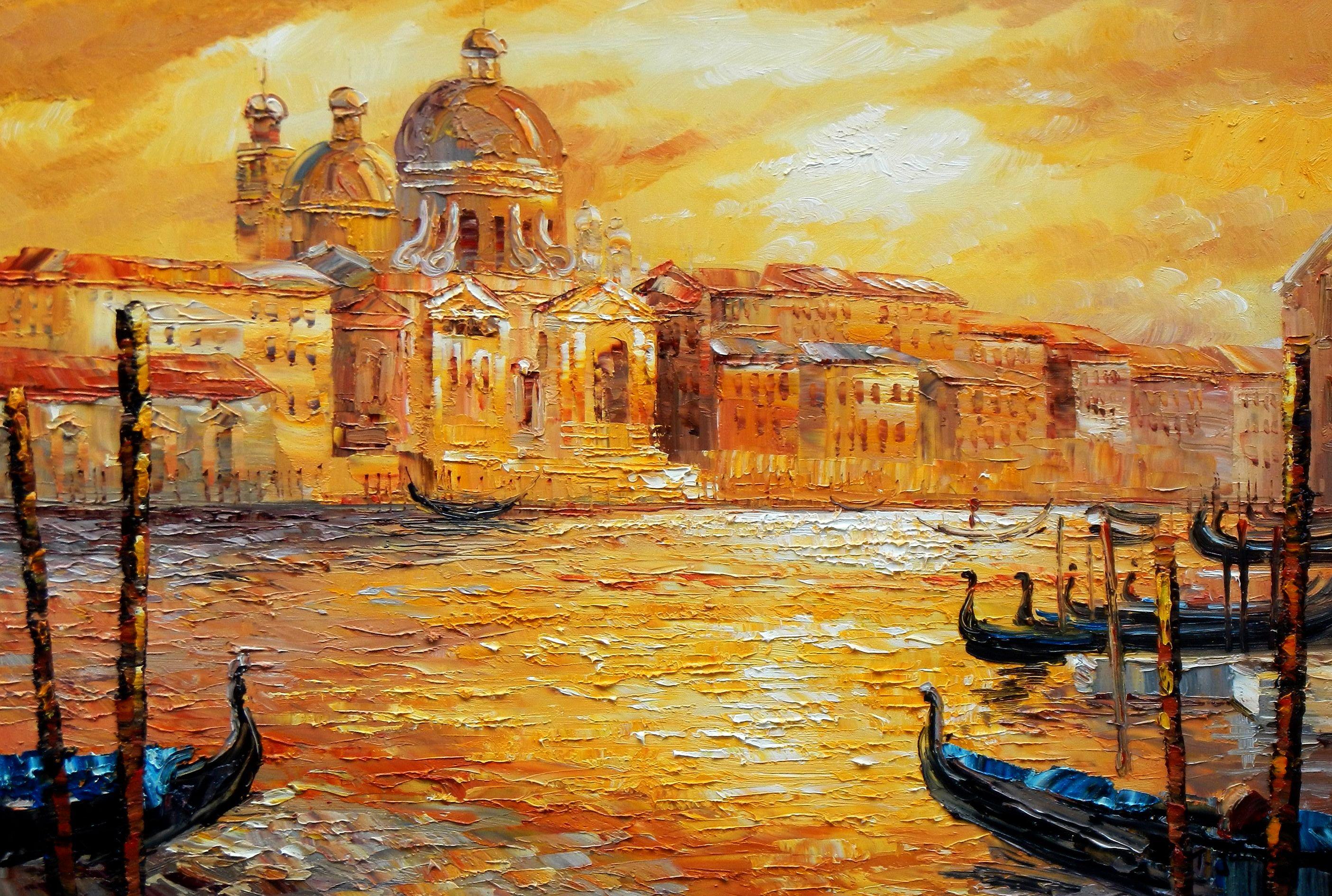 Modern Art - Venedig am Markus Dom d96766 60x90cm abstraktes Ölbild