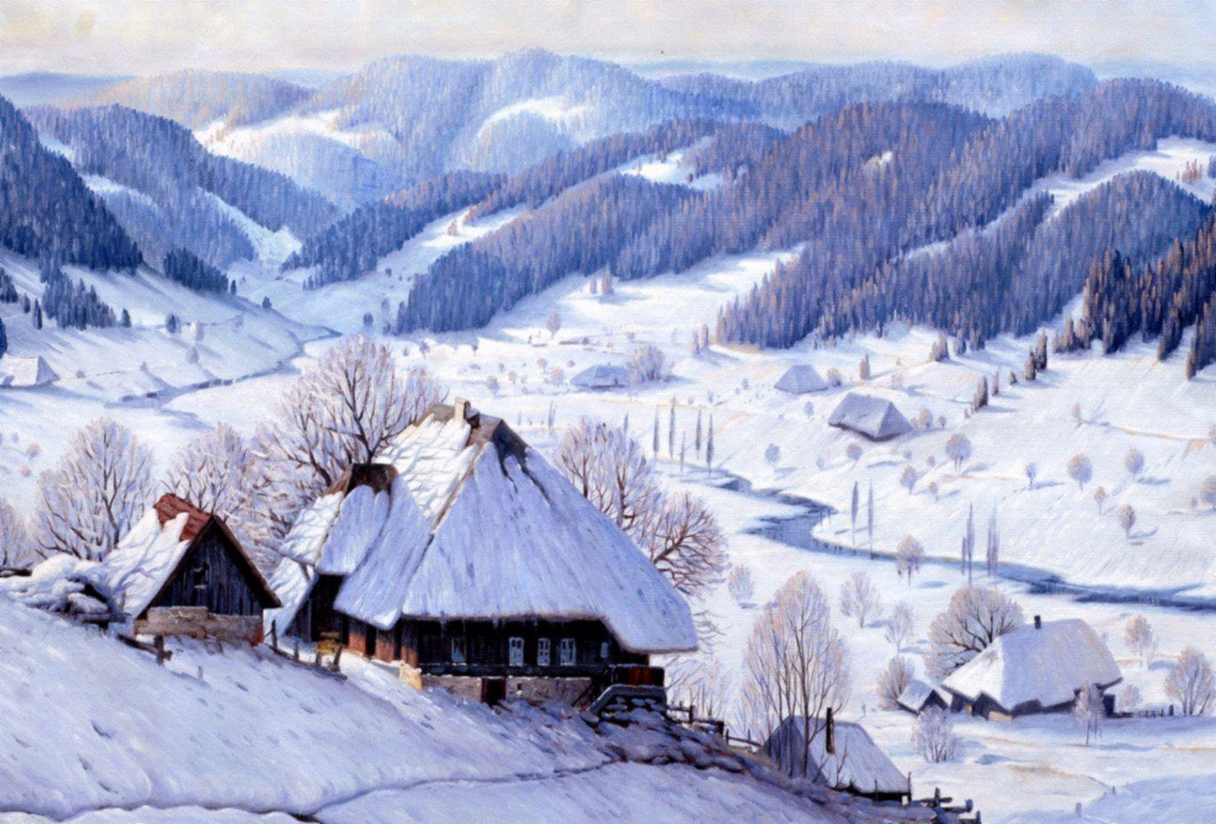 Karl Hauptmann - Winterliches Schwarzwaldhaus d96965 60x90cm exquisites Ölbild Museumsqualität