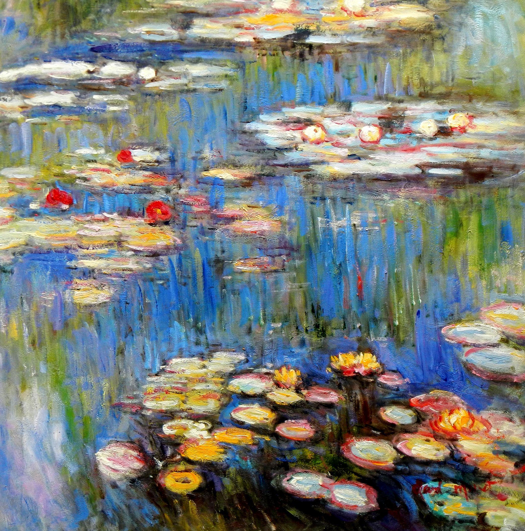 Claude Monet - Seerosen im Frühling e96693 60x60cm Ölgemälde handgemalt