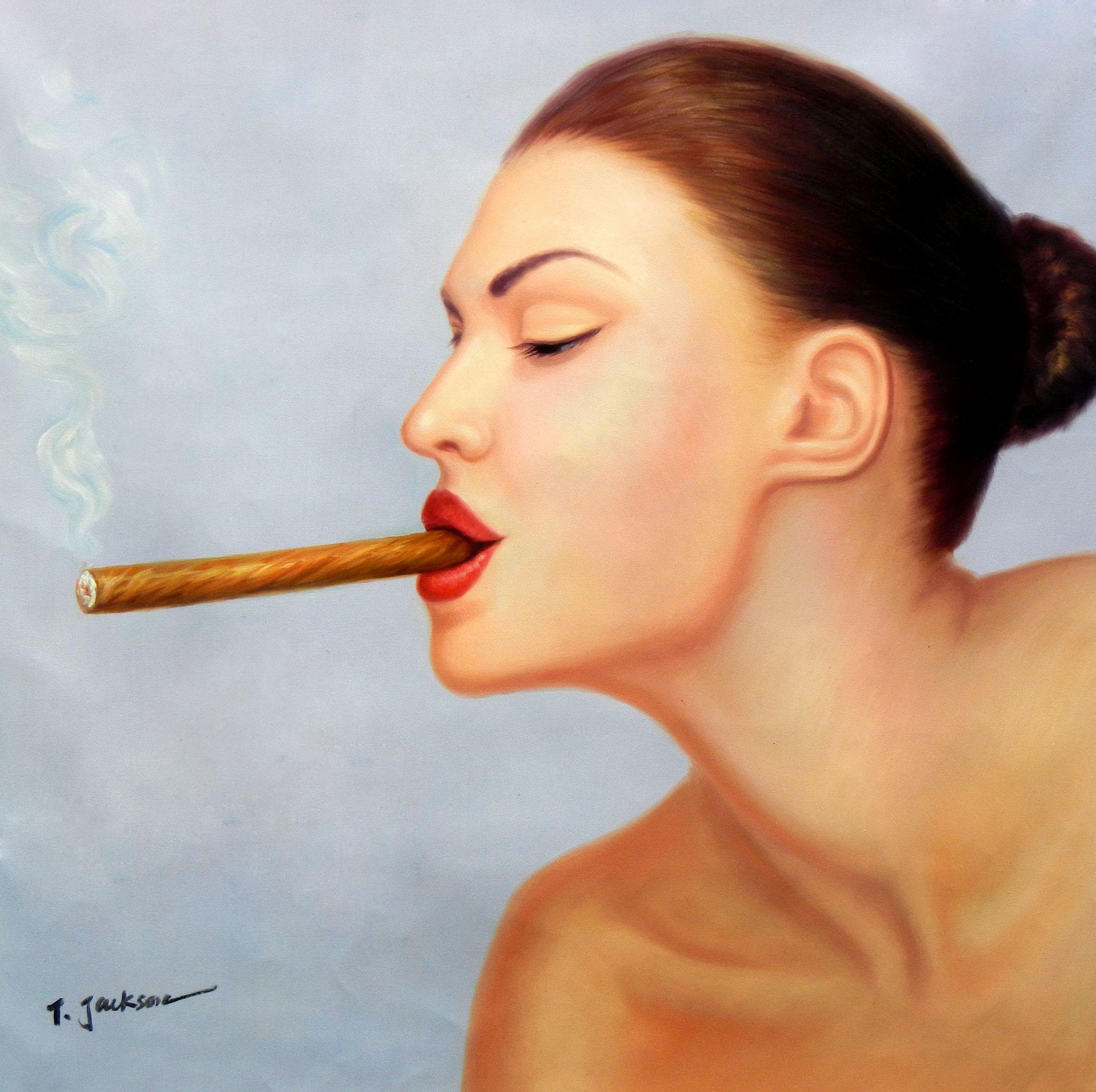 Modern Art - Frau mit Cohiba Zigarre g96815 80x80cm exquisites Ölgemälde
