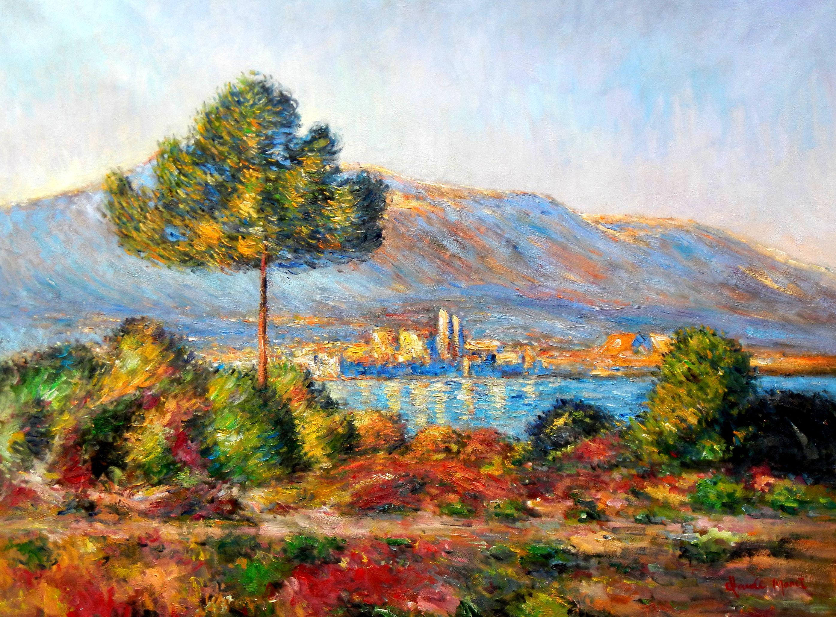 Claude Monet - Blick auf Antibes von Notre Dame k96900 90x120cm Ölgemälde handgemalt